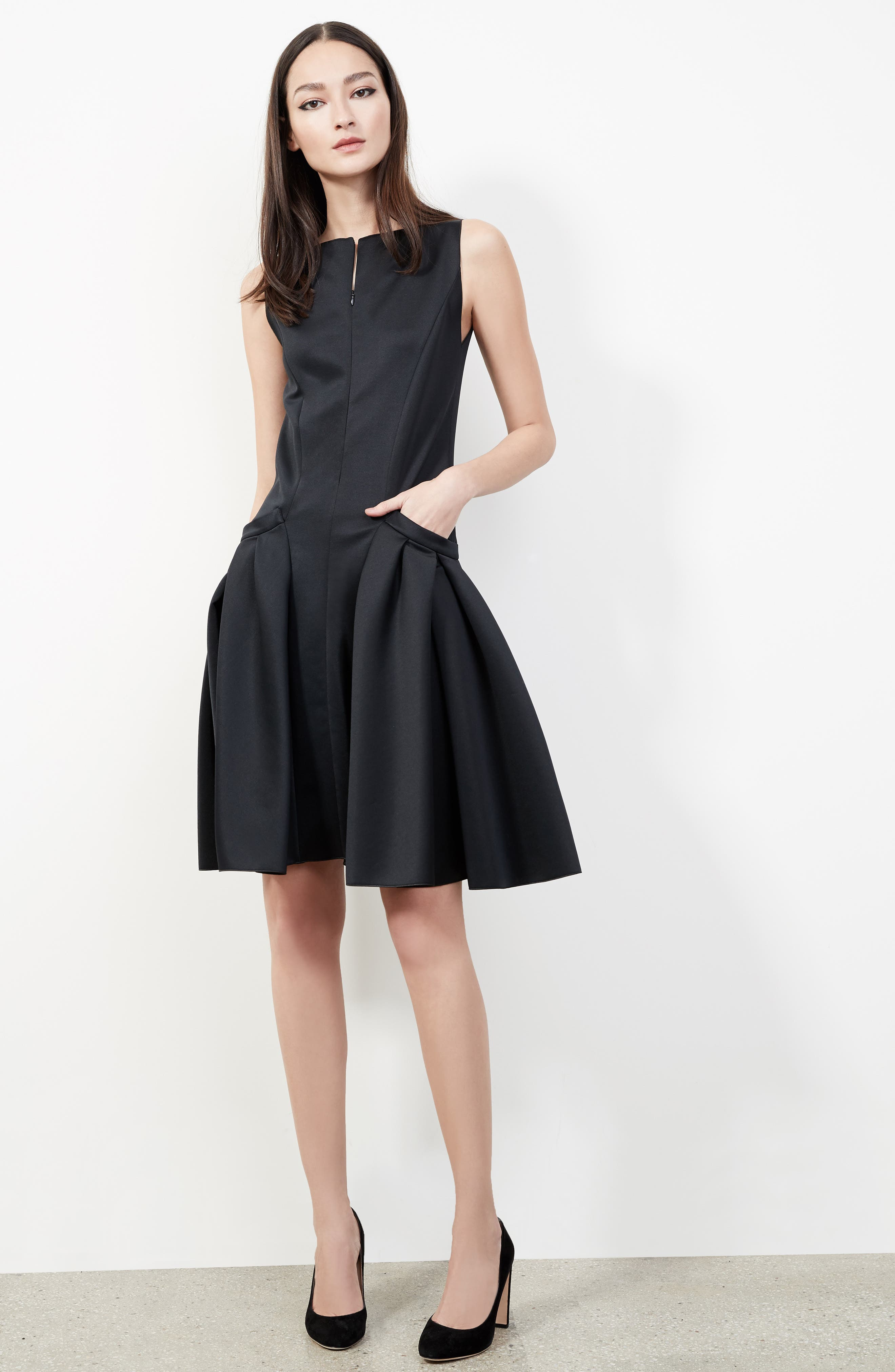 Neoprene Fit & Flare Dress,                             Alternate thumbnail 5, color,                             001