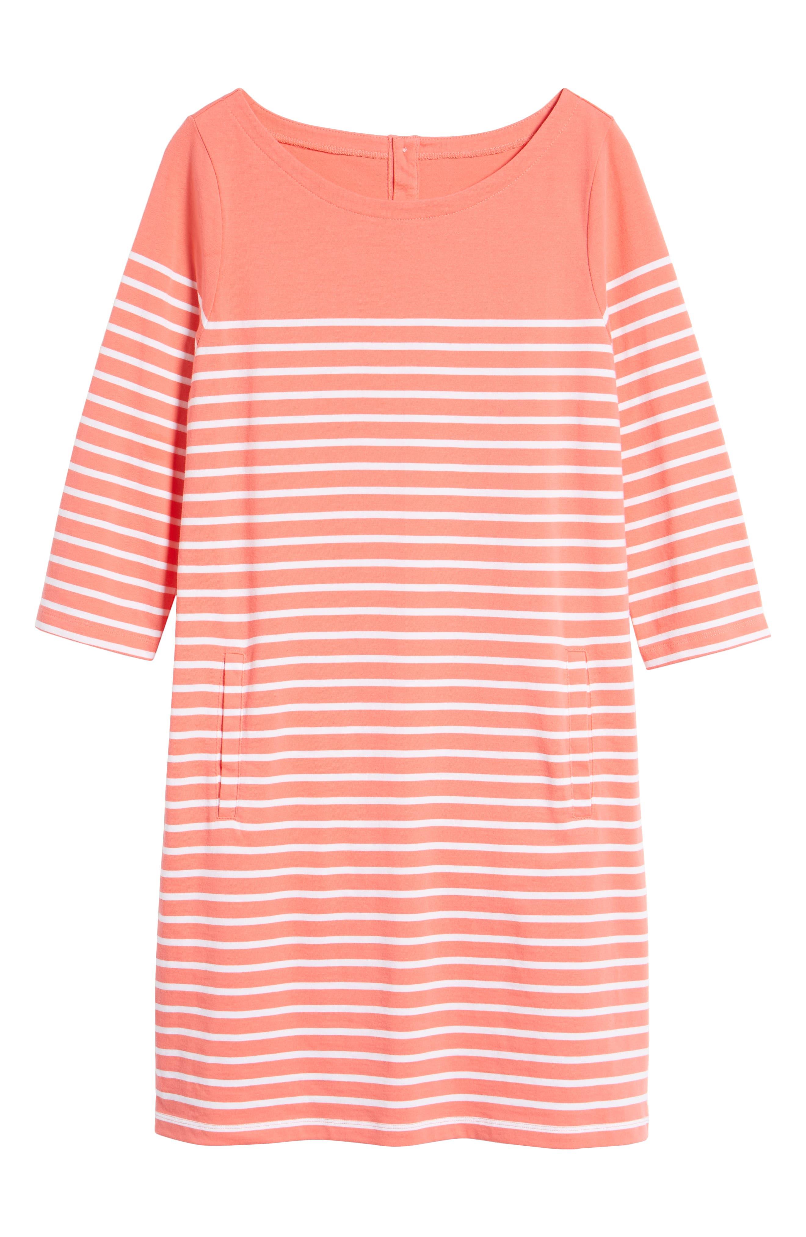 Stripe Cotton Knit Shift Dress,                             Alternate thumbnail 7, color,                             958