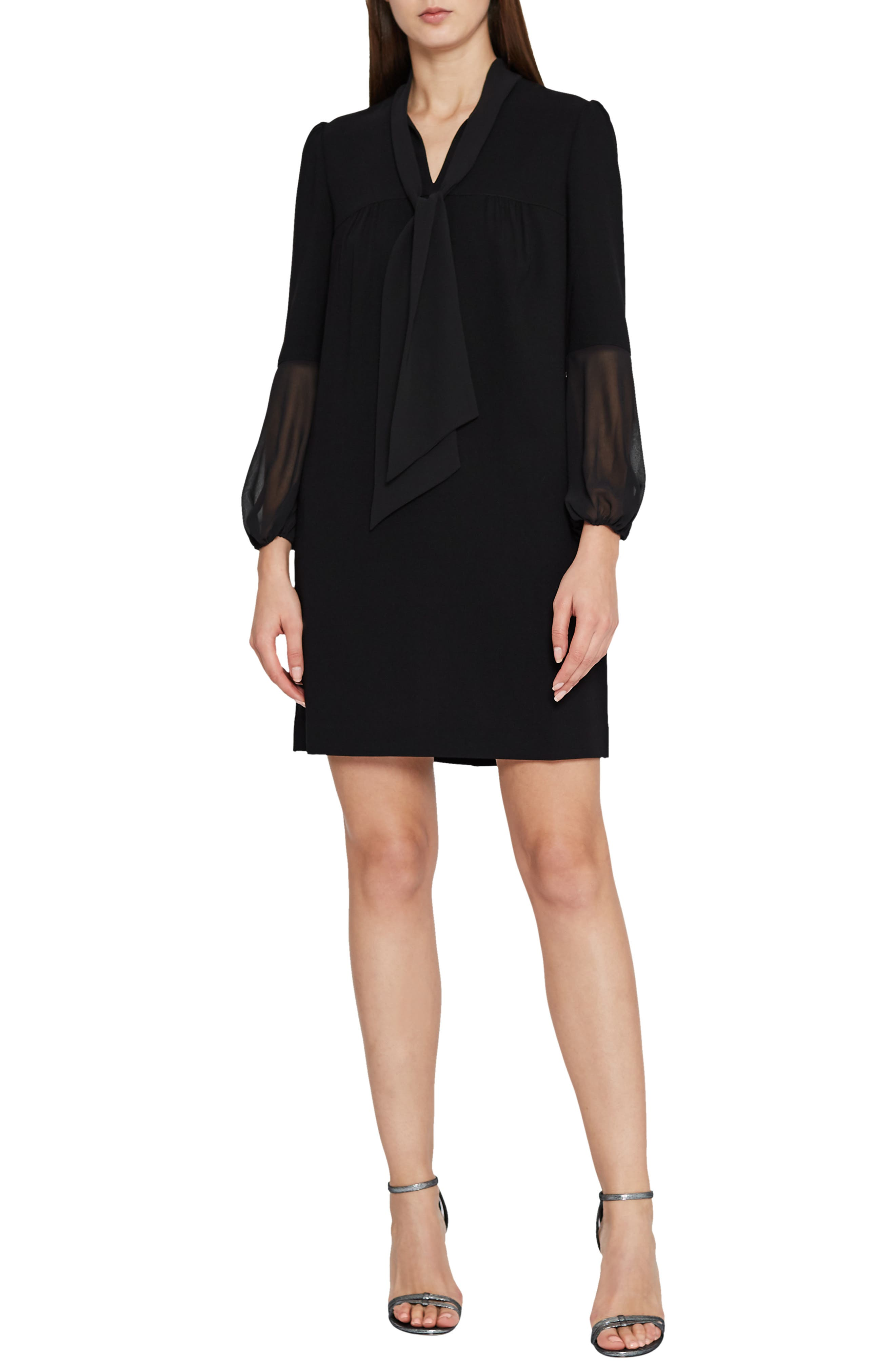 REISS Ronda Tie Neck Shift Dress in Black