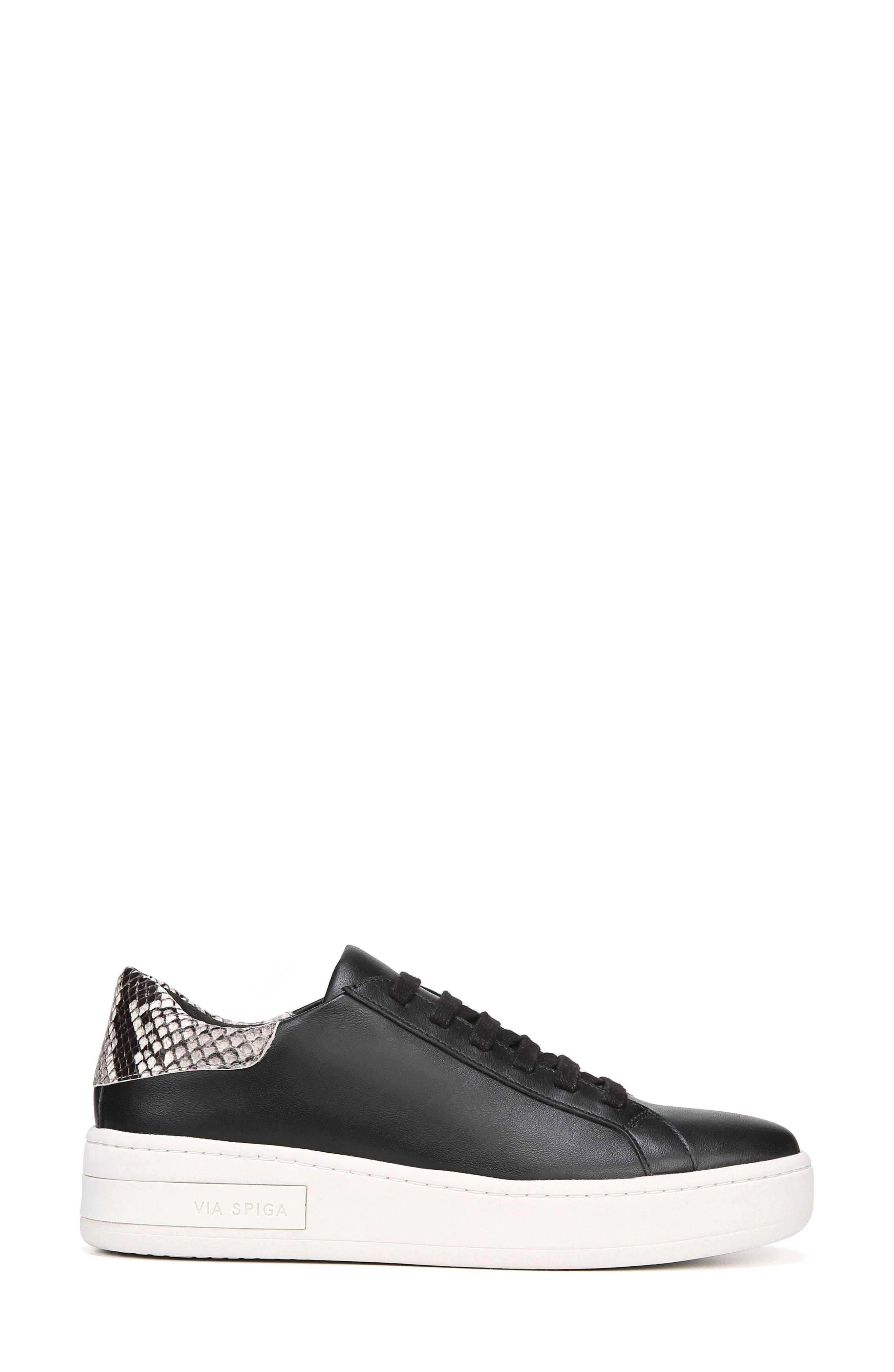 Rylen Platform Sneaker,                             Alternate thumbnail 3, color,                             BLACK/ BLACK/ WHITE LEATHER