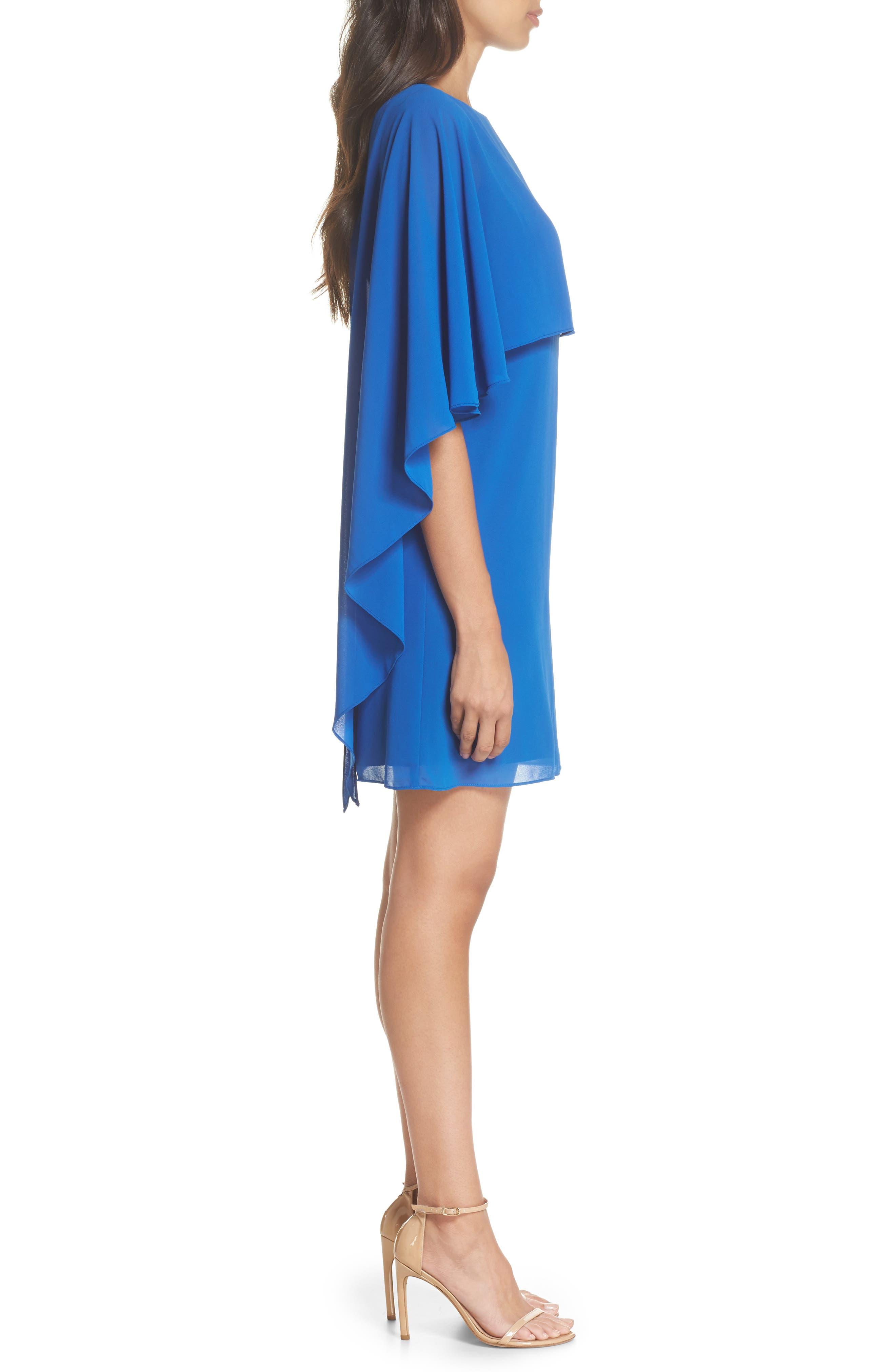 Cape Overlay Dress,                             Alternate thumbnail 3, color,                             ROYAL