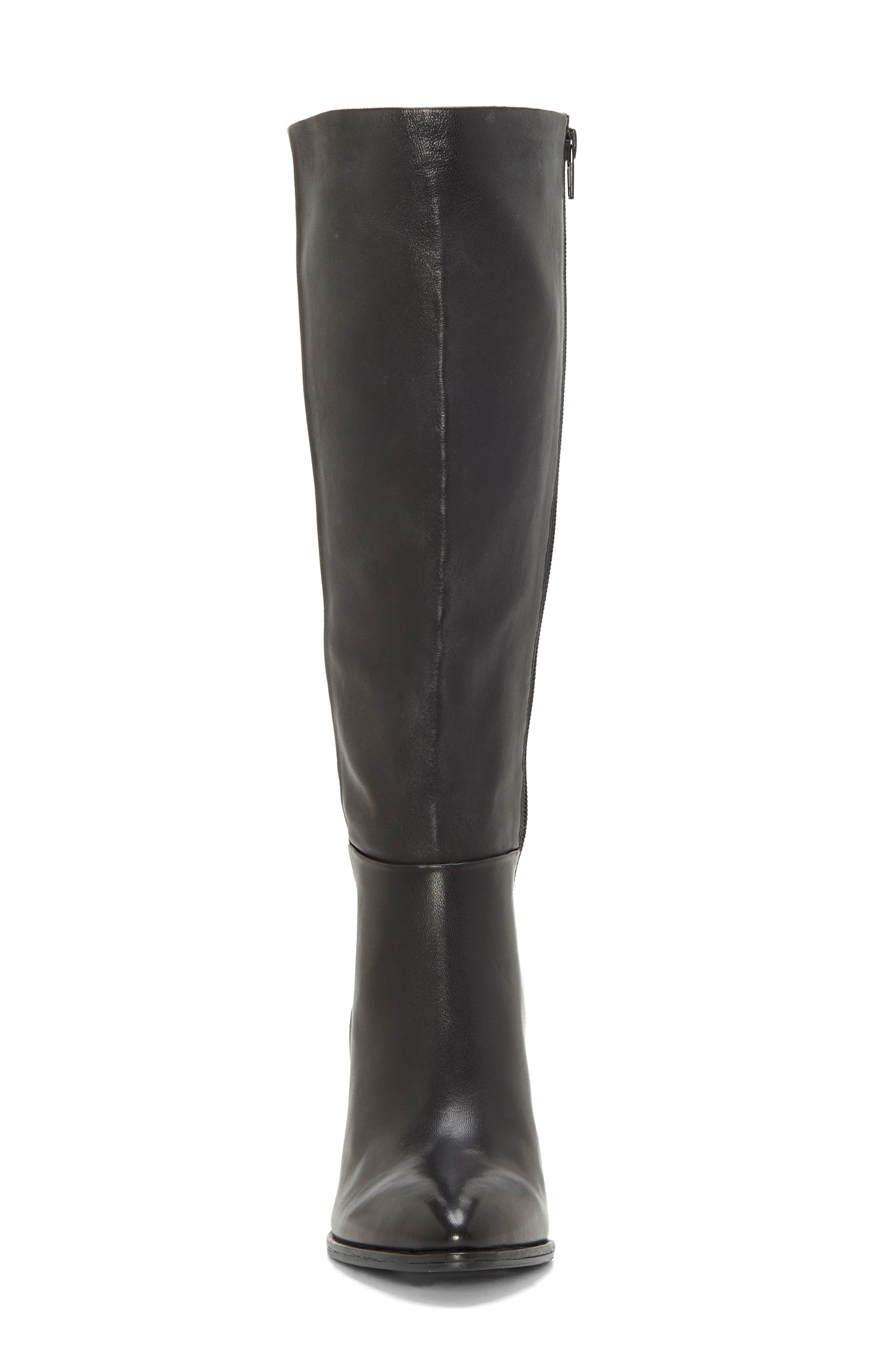 Wenda Knee High Boot,                             Alternate thumbnail 4, color,                             BLACK LEATHER