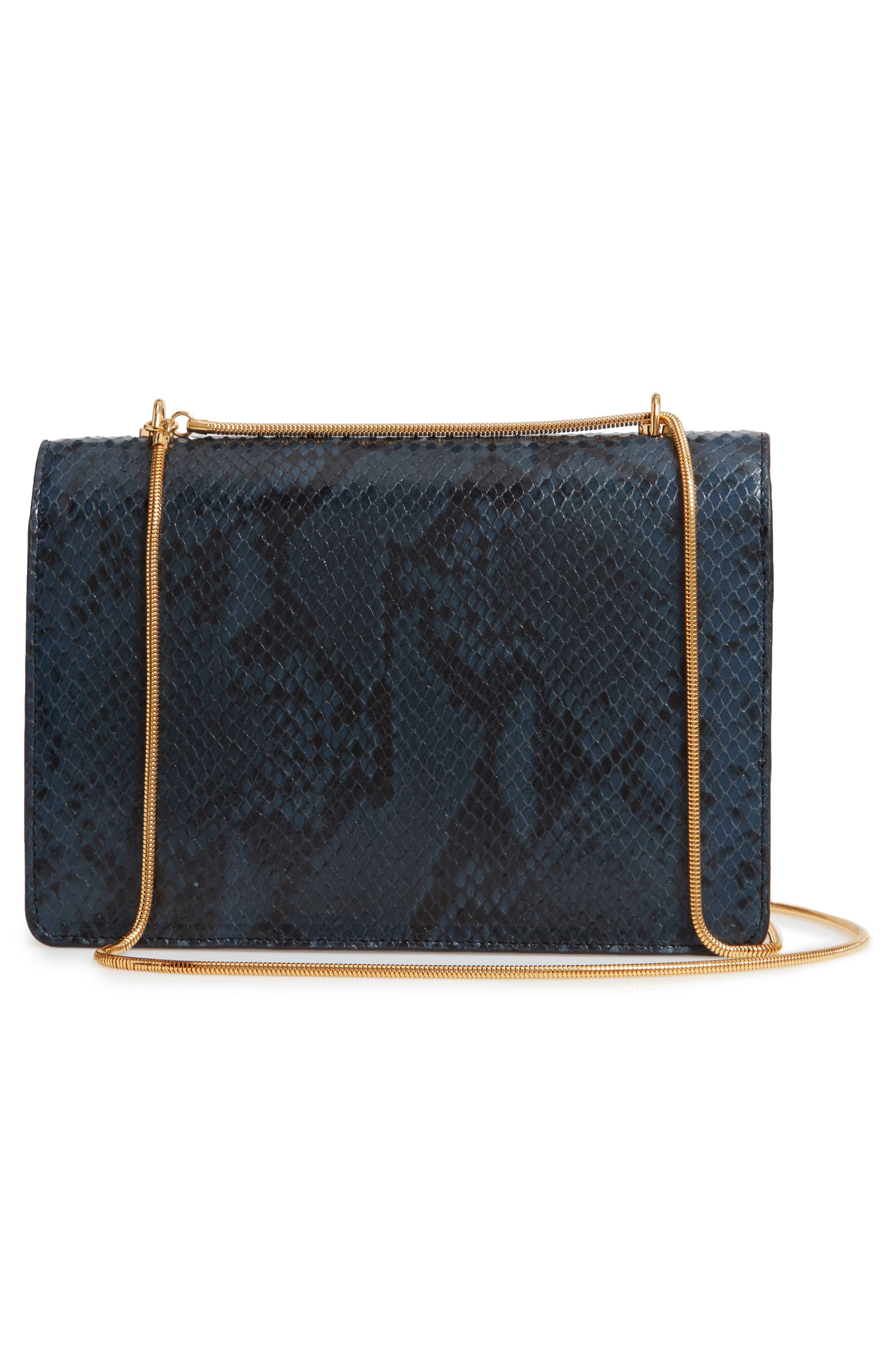 Croc Embossed Leather Shoulder Bag,                             Alternate thumbnail 3, color,                             200