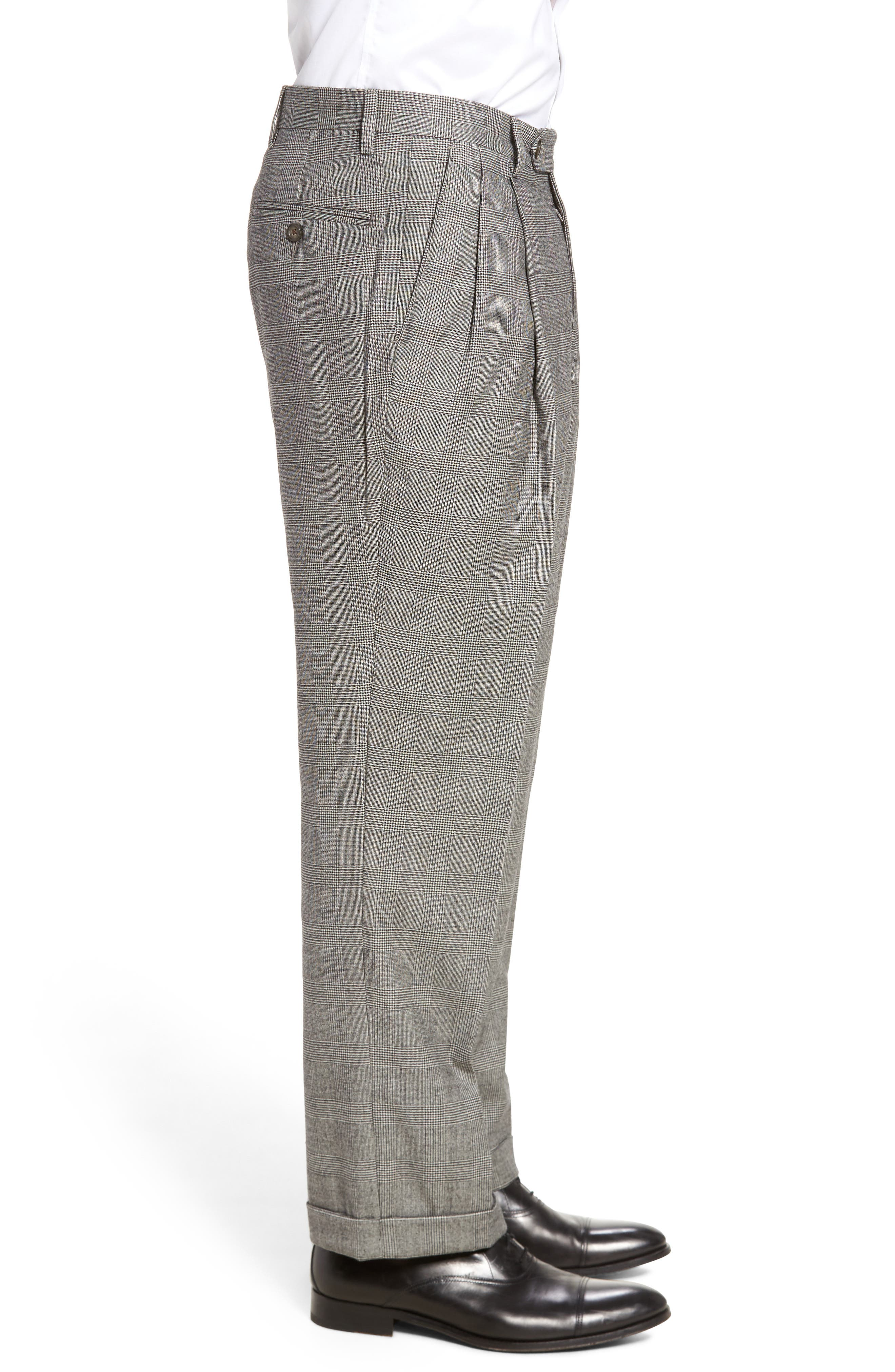 Pleated Stretch Plaid Wool Trousers,                             Alternate thumbnail 4, color,                             BLACK/ WHITE