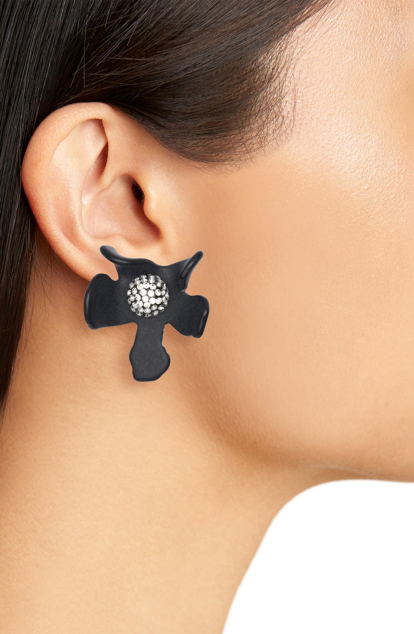 Crystal Lily Earrings,                             Alternate thumbnail 2, color,                             JET