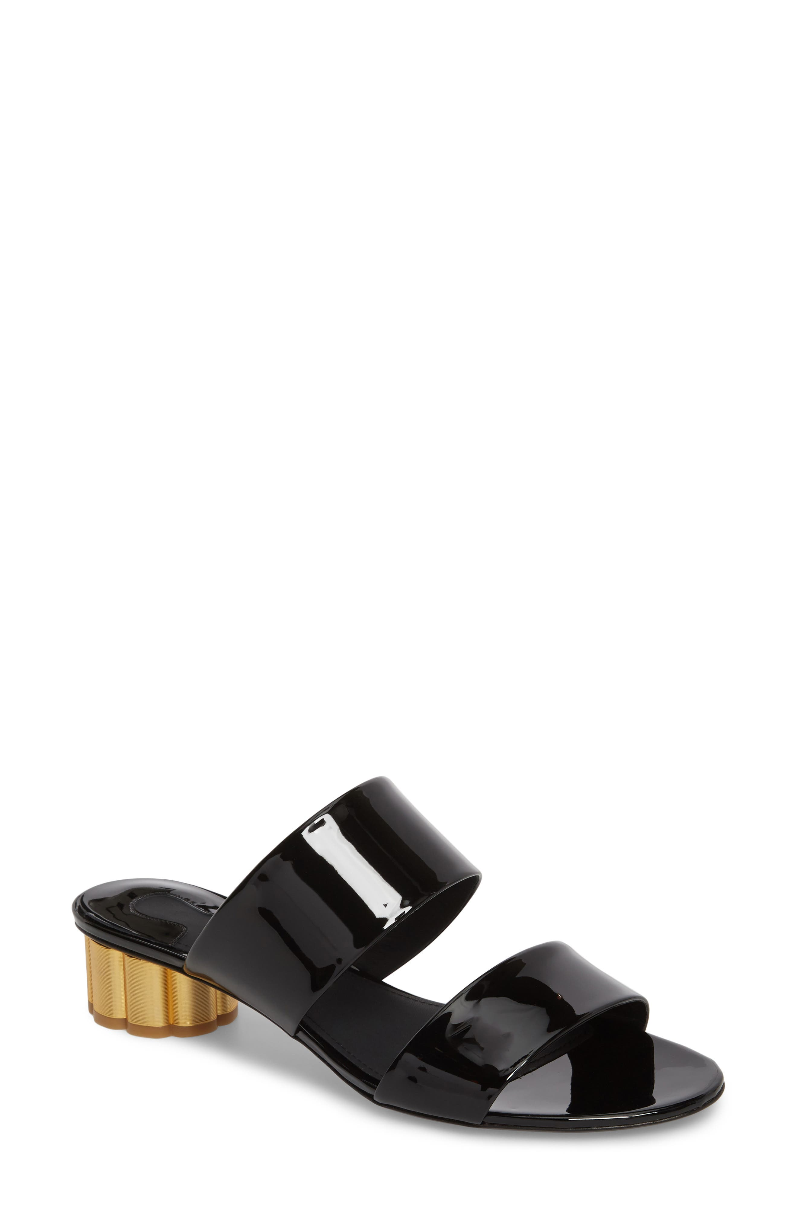 SALVATORE FERRAGAMO,                             Belluno Double Band Slide Sandal,                             Main thumbnail 1, color,                             BLACK PATENT LEATHER