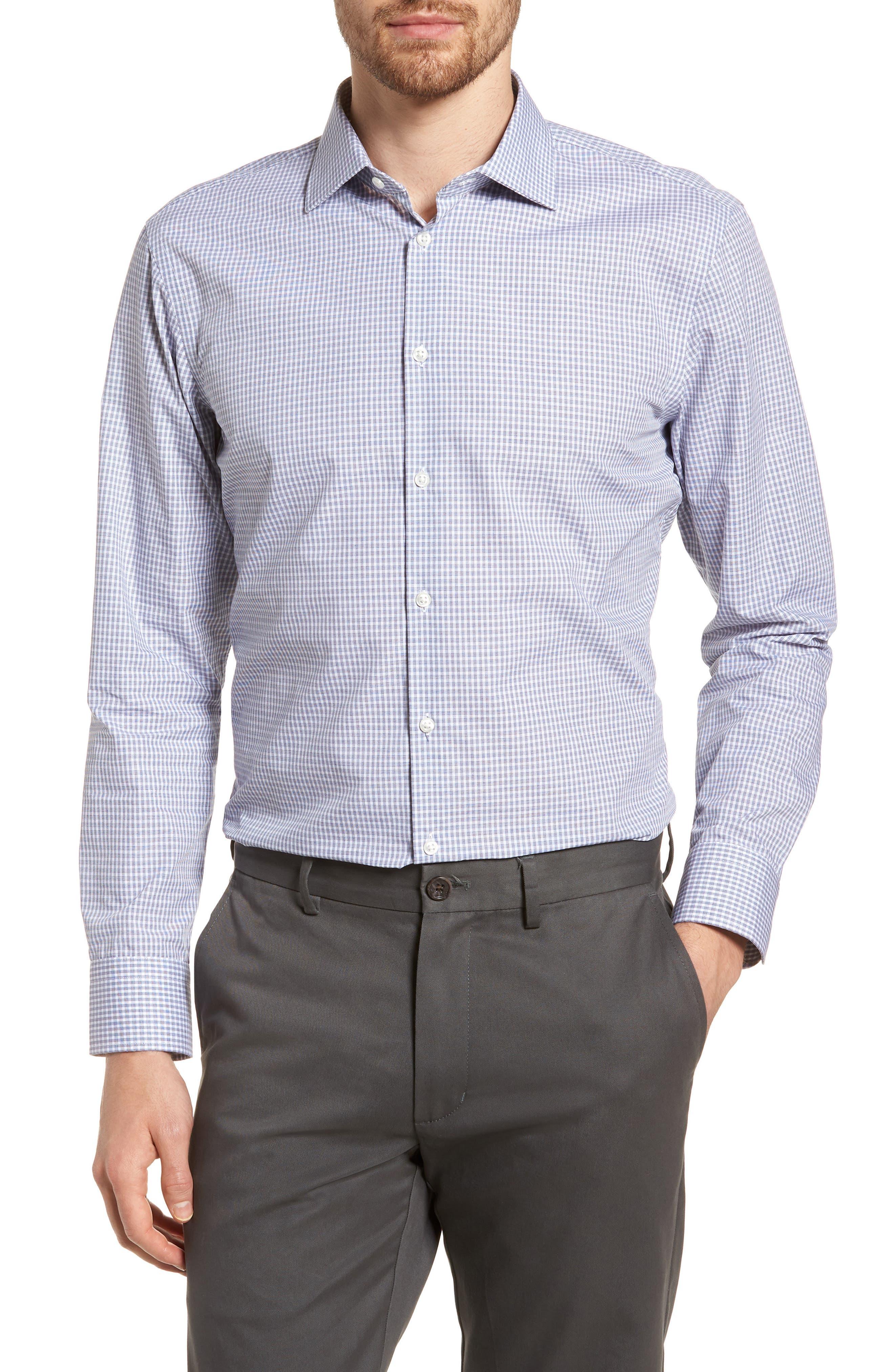 Extra Trim Fit Non-Iron Check Dress Shirt,                             Main thumbnail 1, color,