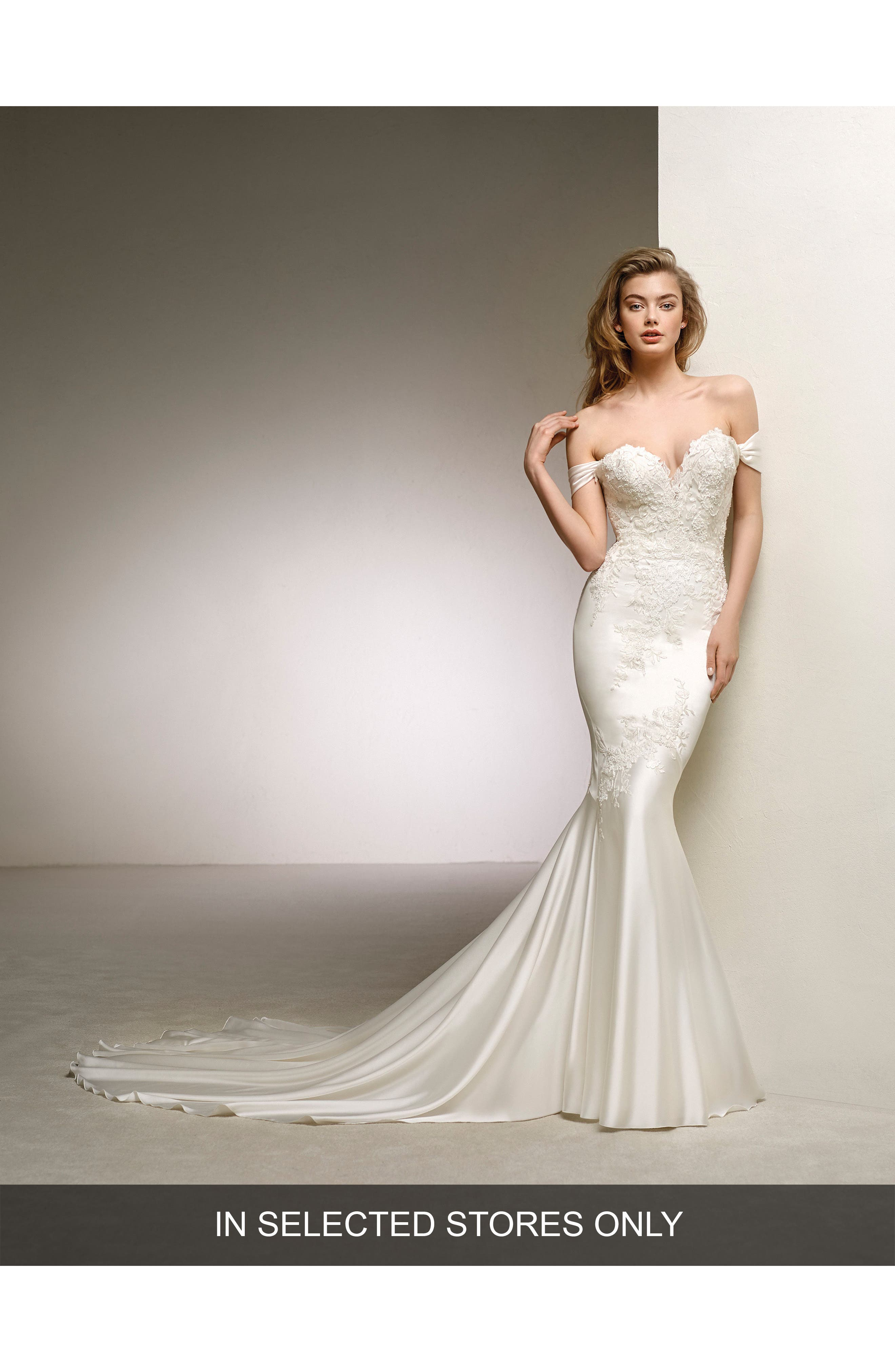 Dante Off the Shoulder Sweetheart Satin Mermaid Gown,                             Main thumbnail 1, color,                             OFF WHITE