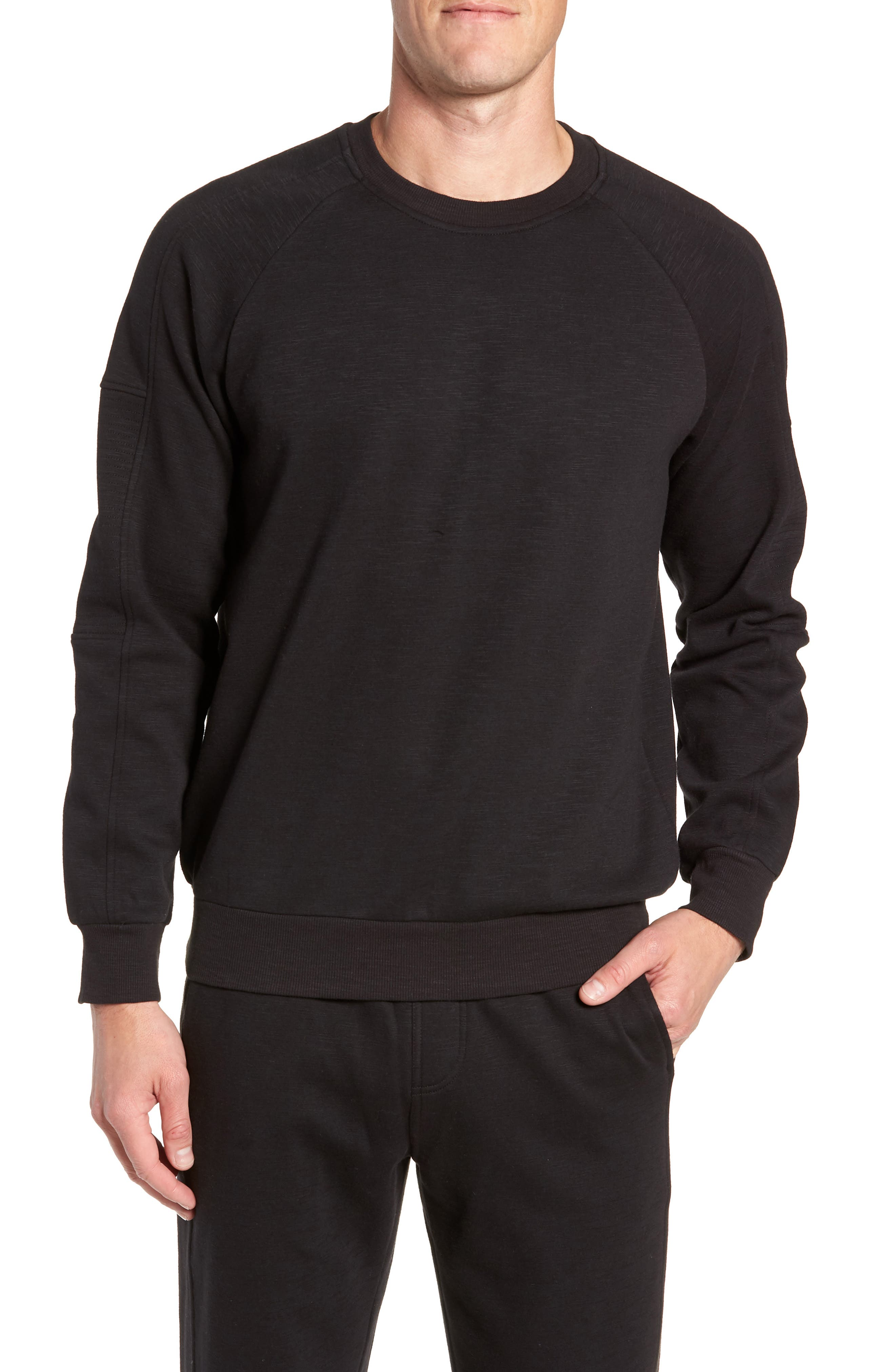 French Terry Moto Pullover,                             Main thumbnail 1, color,                             BLACK HEATHER