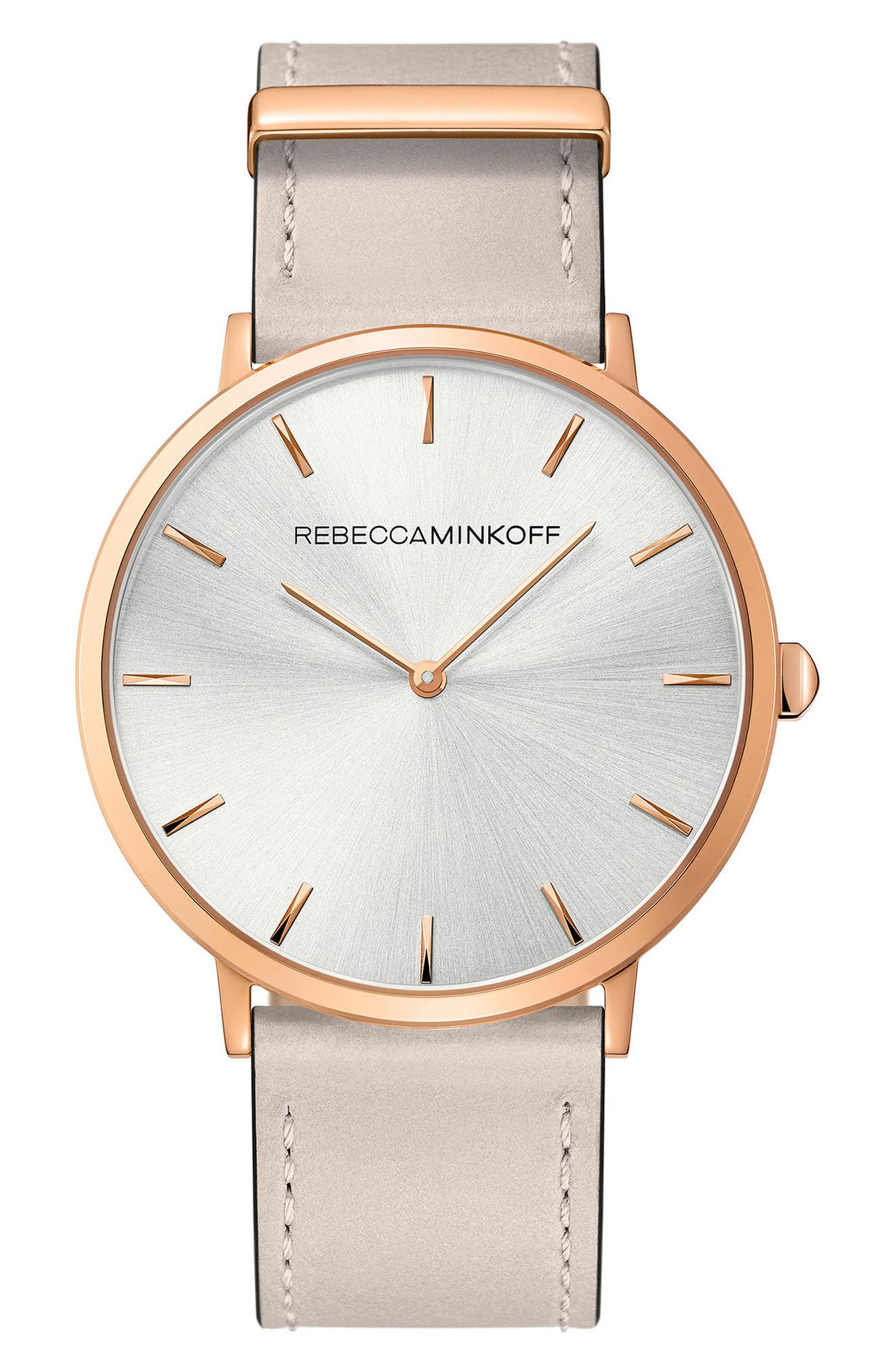 Major Leather Strap Watch, 40mm,                             Main thumbnail 1, color,                             GREY/ SILVER WHITE/ ROSE GOLD