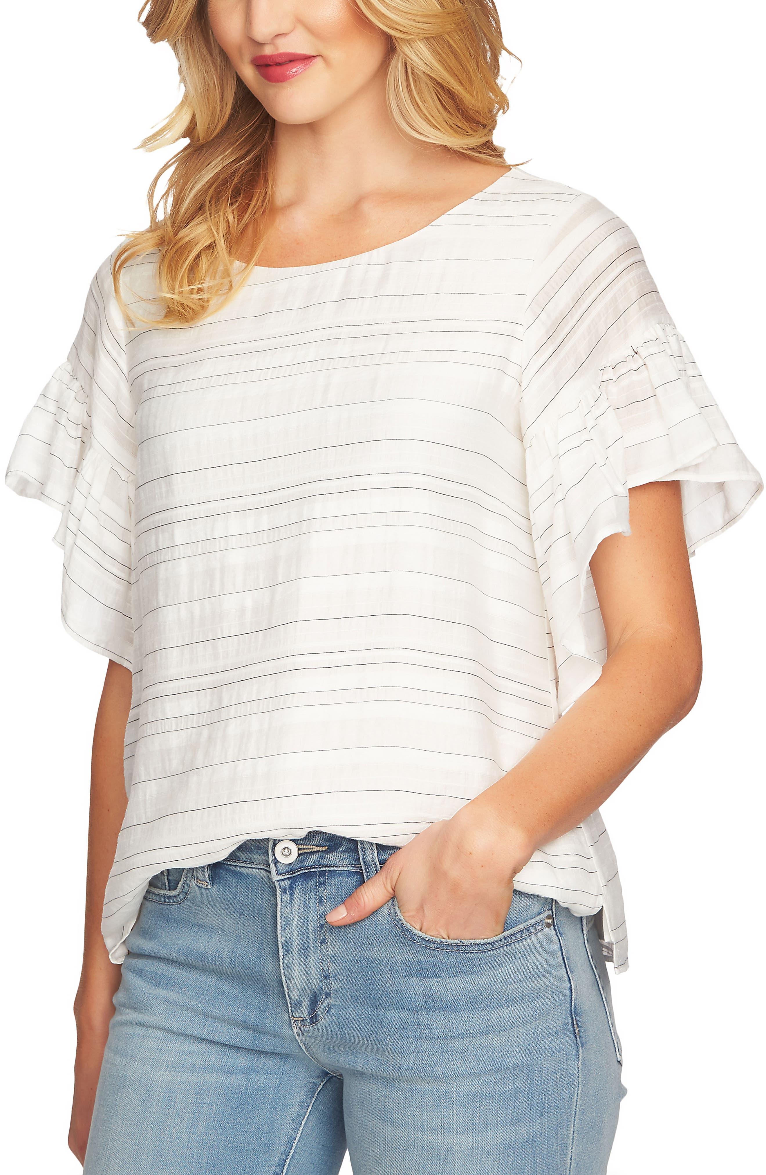 Flutter Sleeve Stripe Blouse,                         Main,                         color, 145