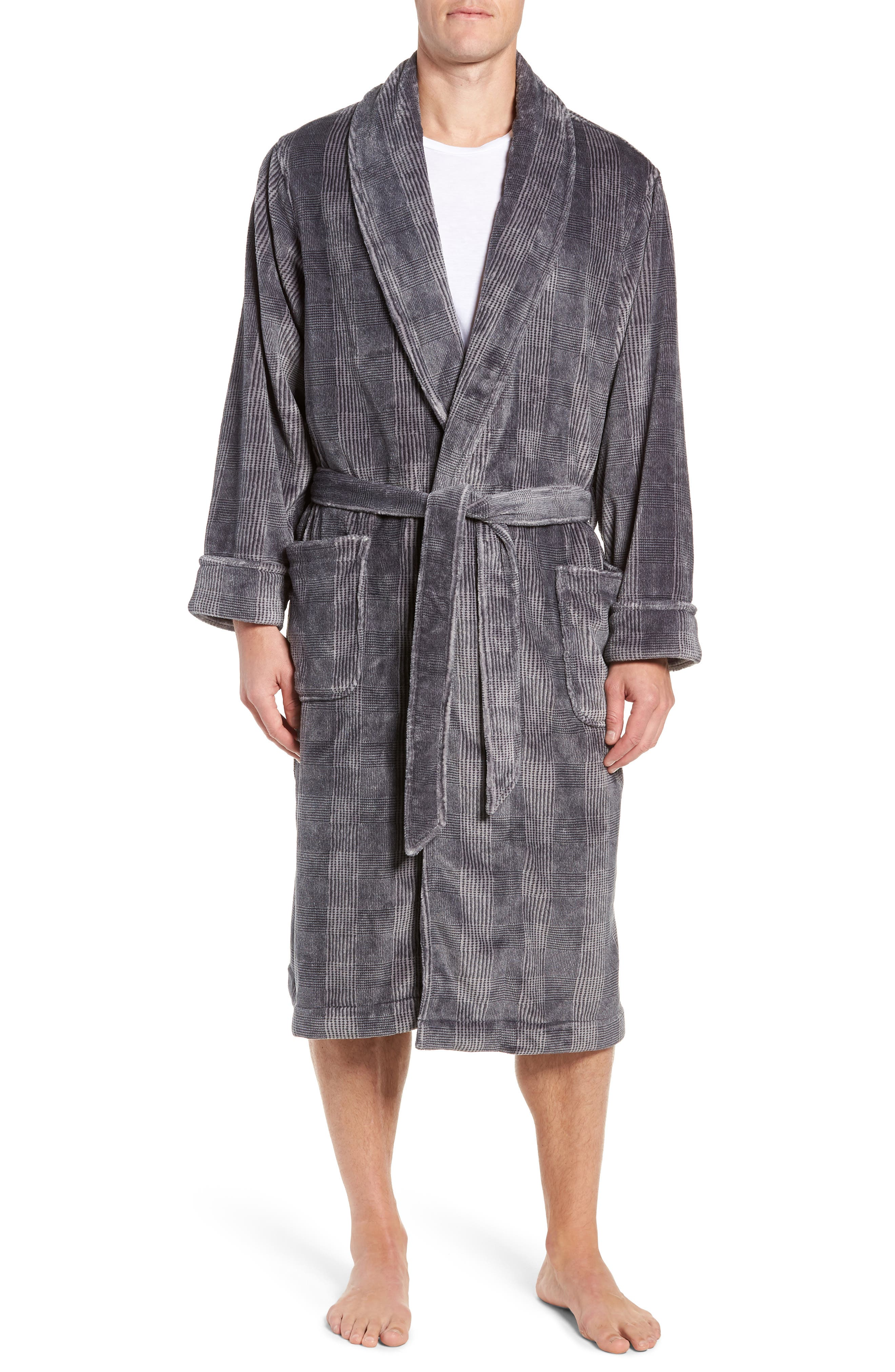 Glen Check Fleece Robe,                             Main thumbnail 1, color,                             BLACK - CHARCOAL GLEN CHECK