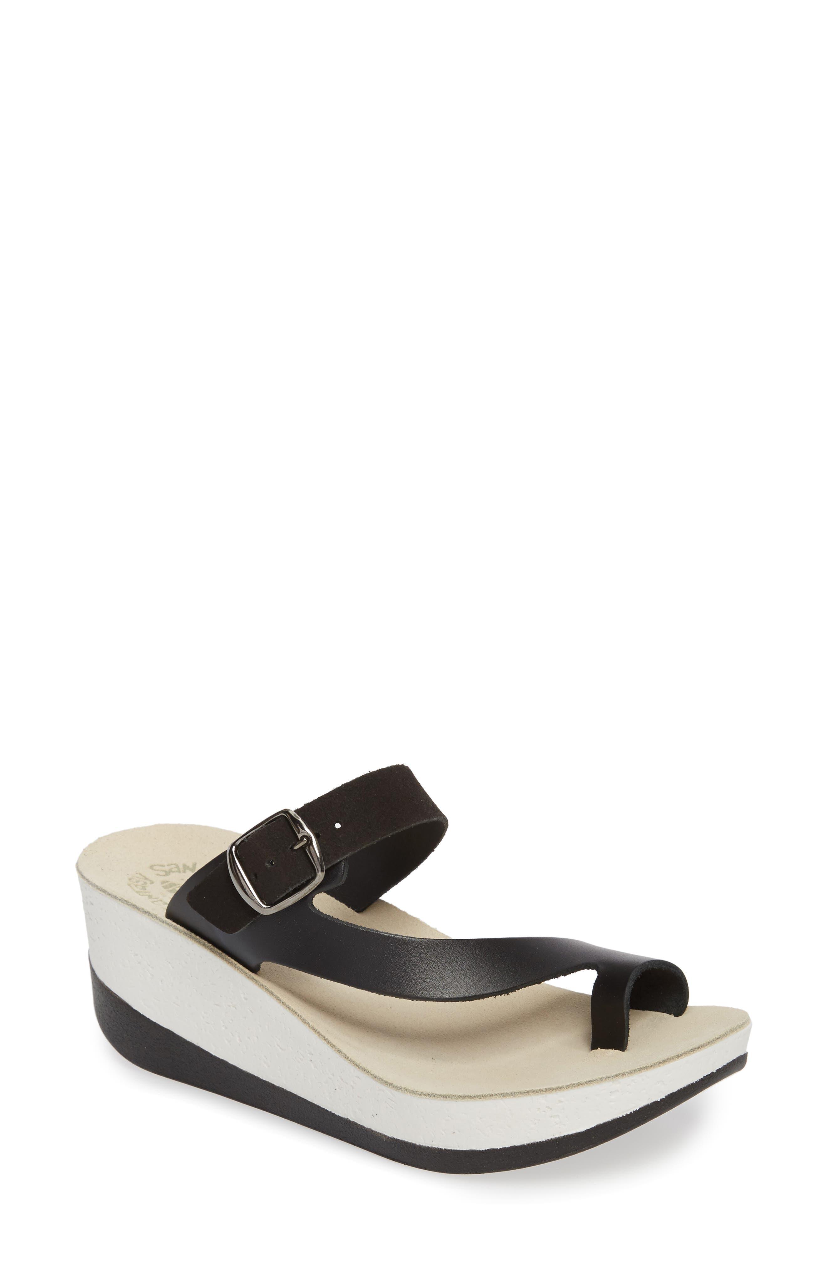 Felisa Wedge Sandal,                         Main,                         color, BLACK LEATHER