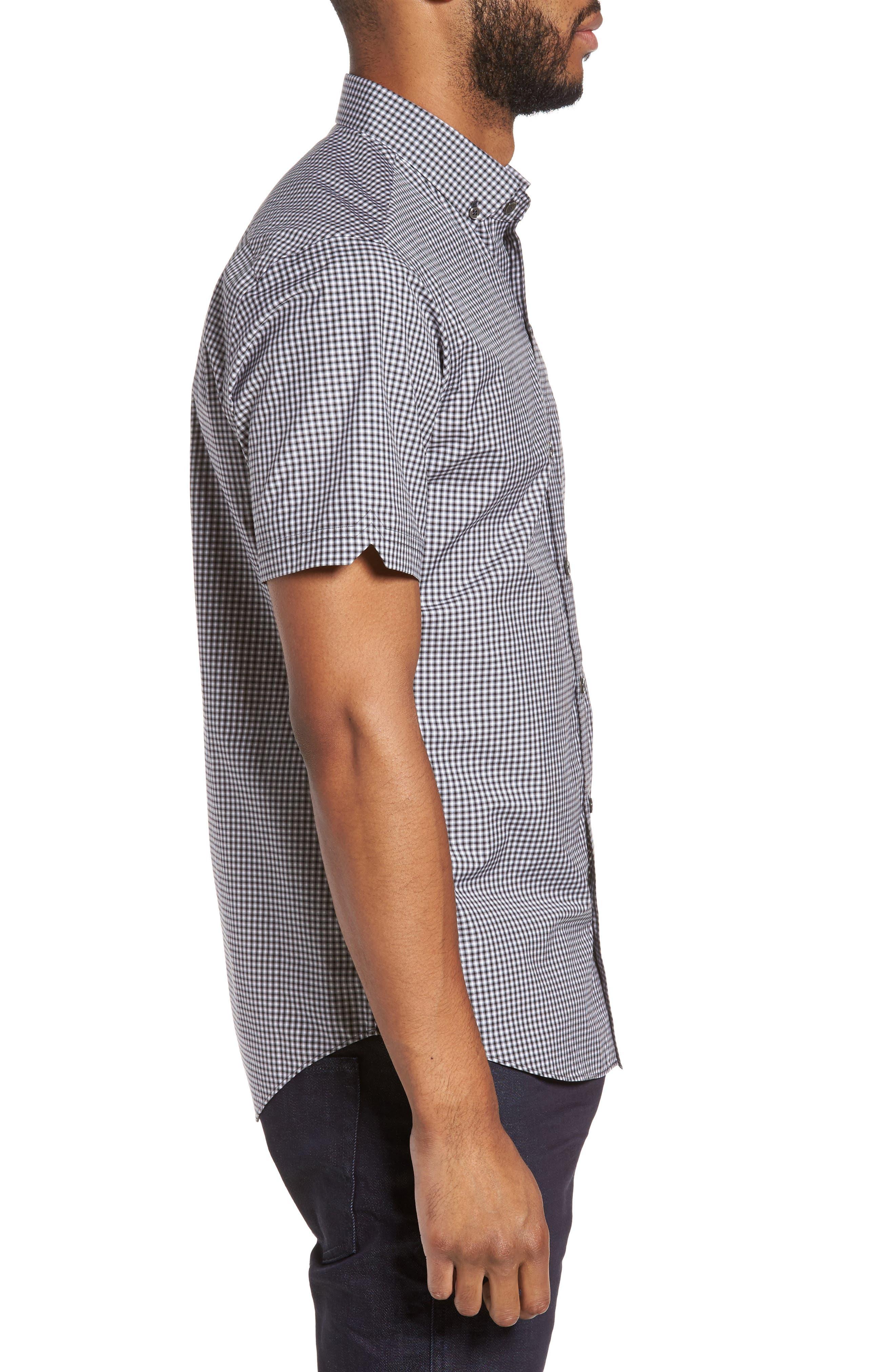 Ahmed Slim Fit Plaid Sport Shirt,                             Alternate thumbnail 3, color,                             021
