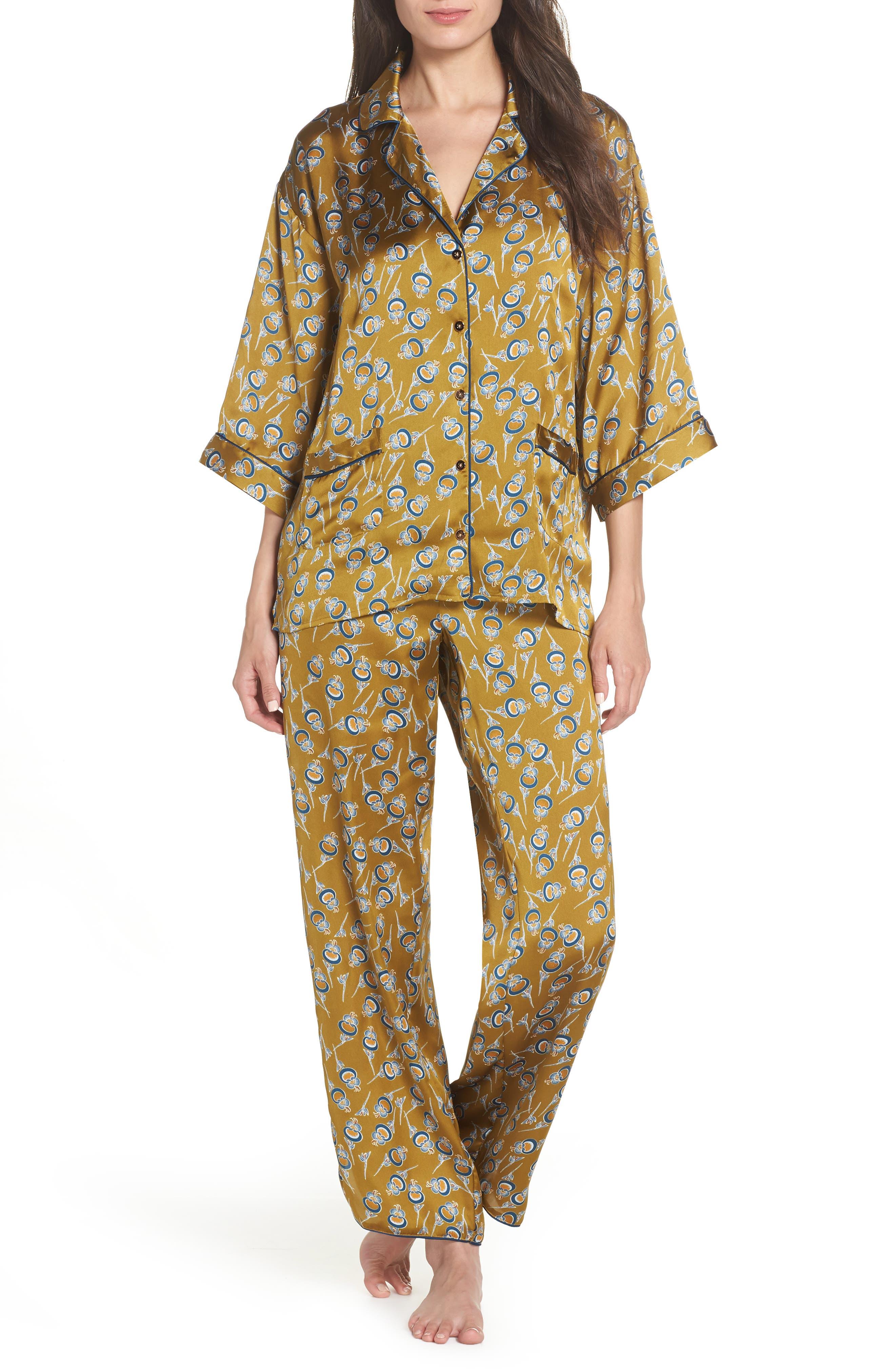 Ella Pajamas,                             Main thumbnail 1, color,                             OLIVE ESTATE ORIENTAL BLOOM