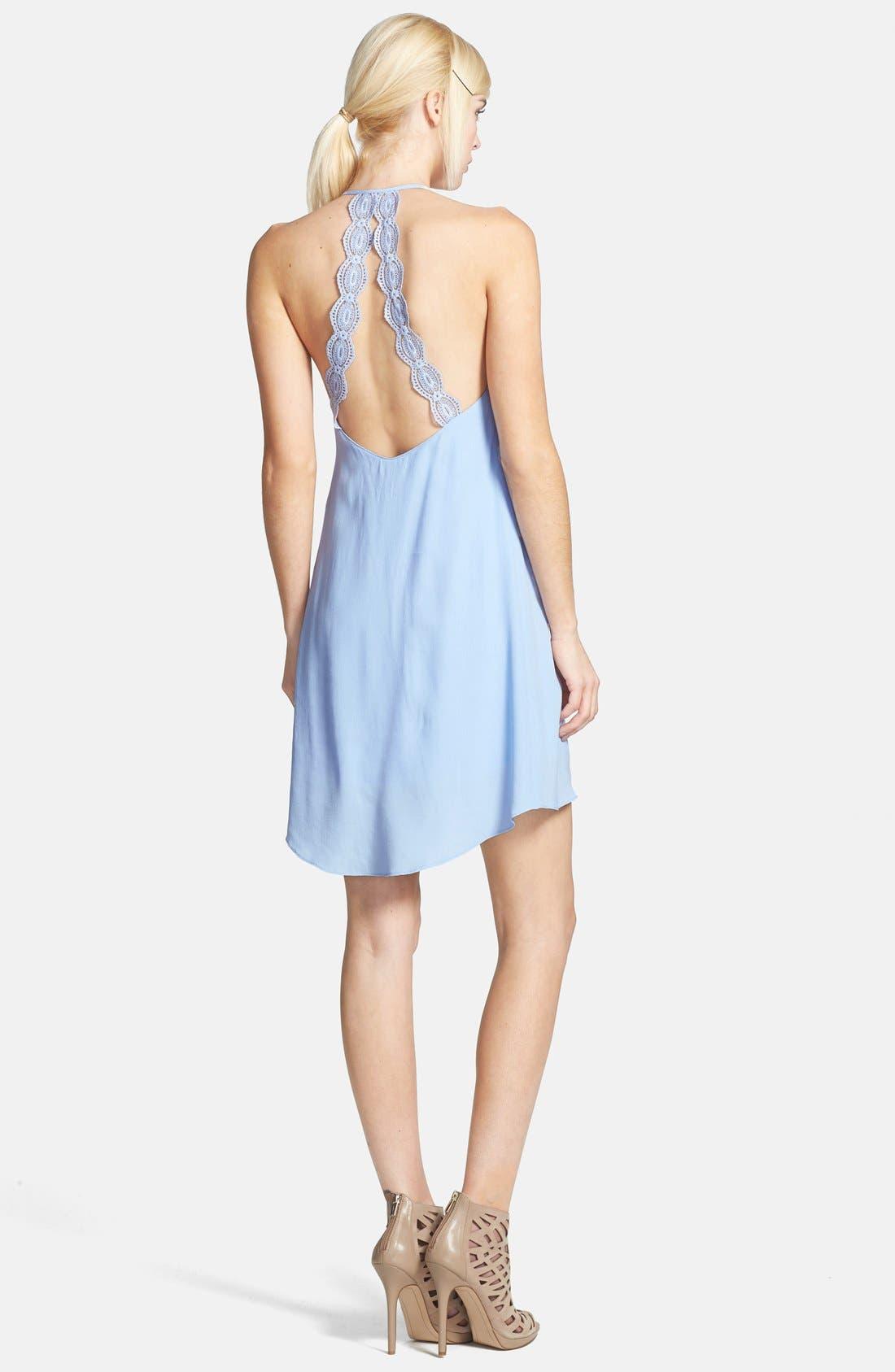 ASTR Lace Strap Silk Blend Dress,                             Alternate thumbnail 3, color,                             428