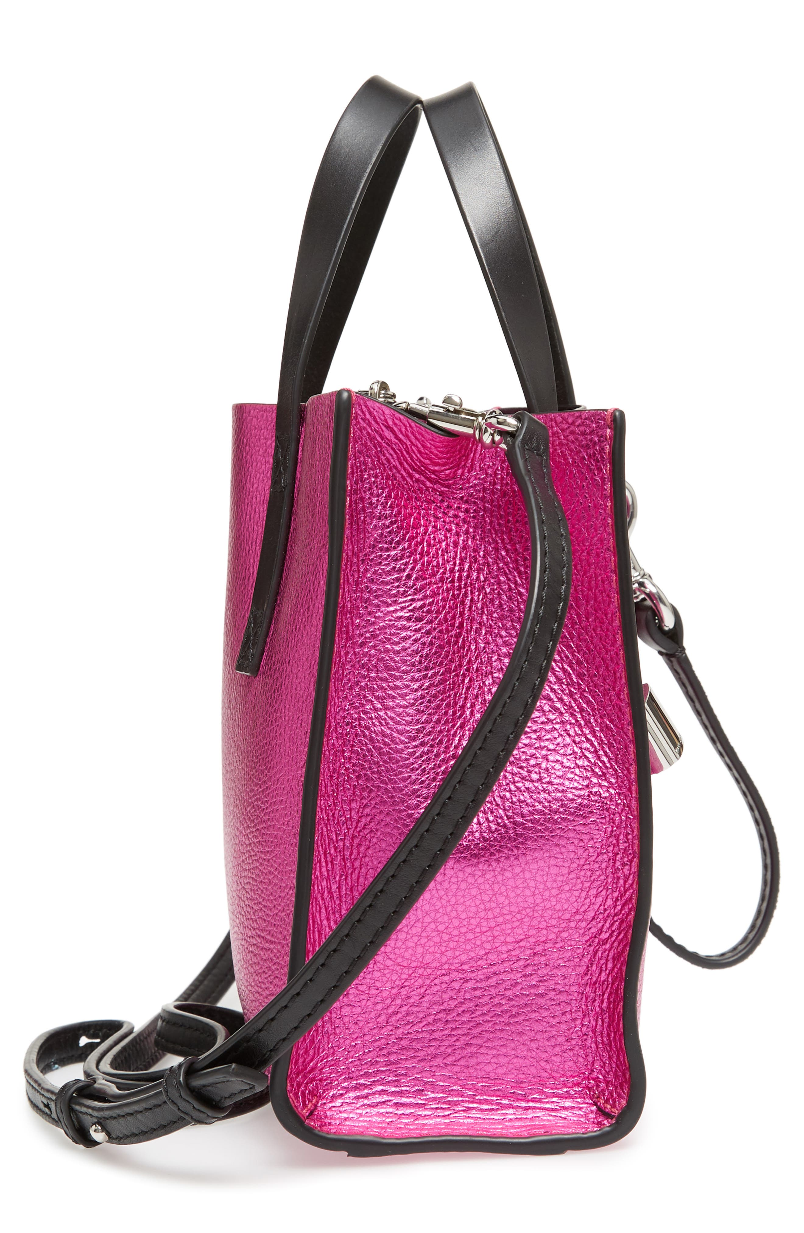 Mini The Grind Metallic Leather Tote,                             Alternate thumbnail 5, color,                             PUNCH PINK