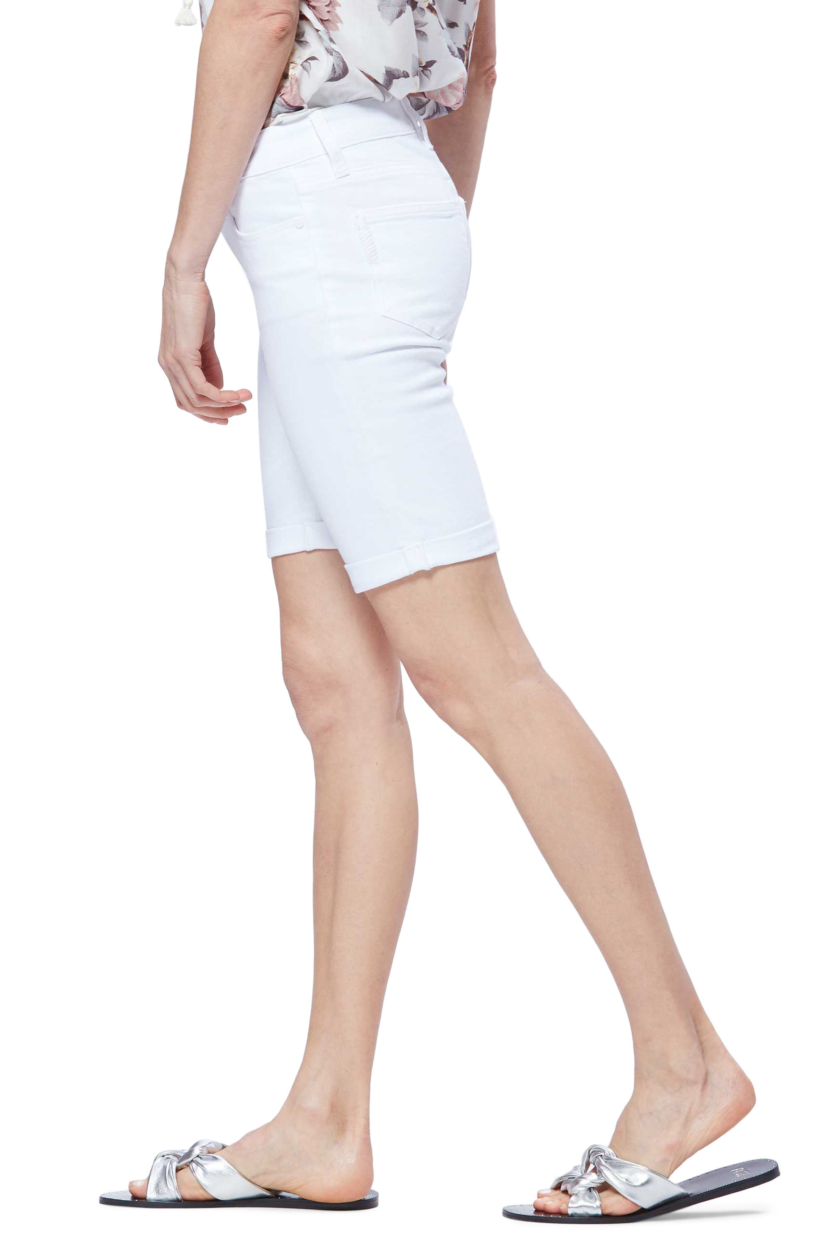 PAIGE,                             Jax Denim Bermuda Shorts,                             Alternate thumbnail 3, color,                             CRISP WHITE