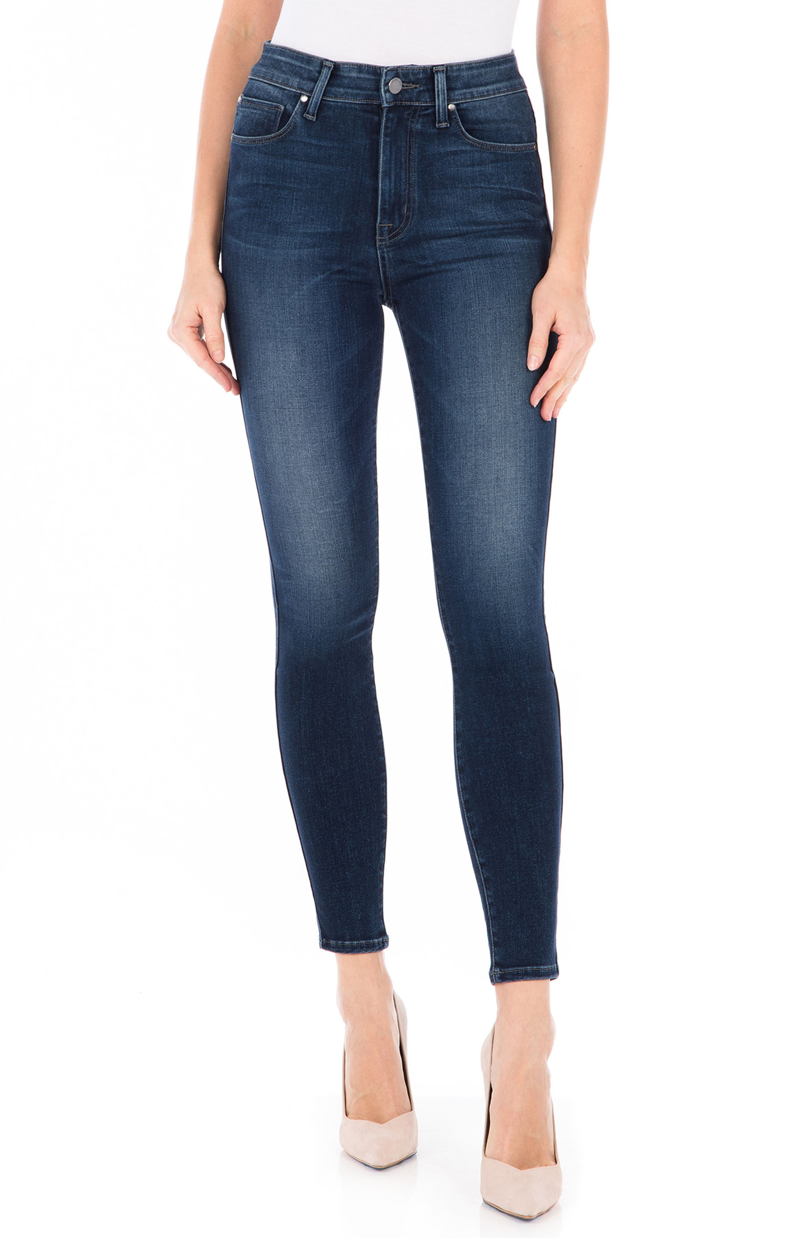 Luna High Waist Skinny Jeans,                             Main thumbnail 1, color,                             BLUE SUEDE