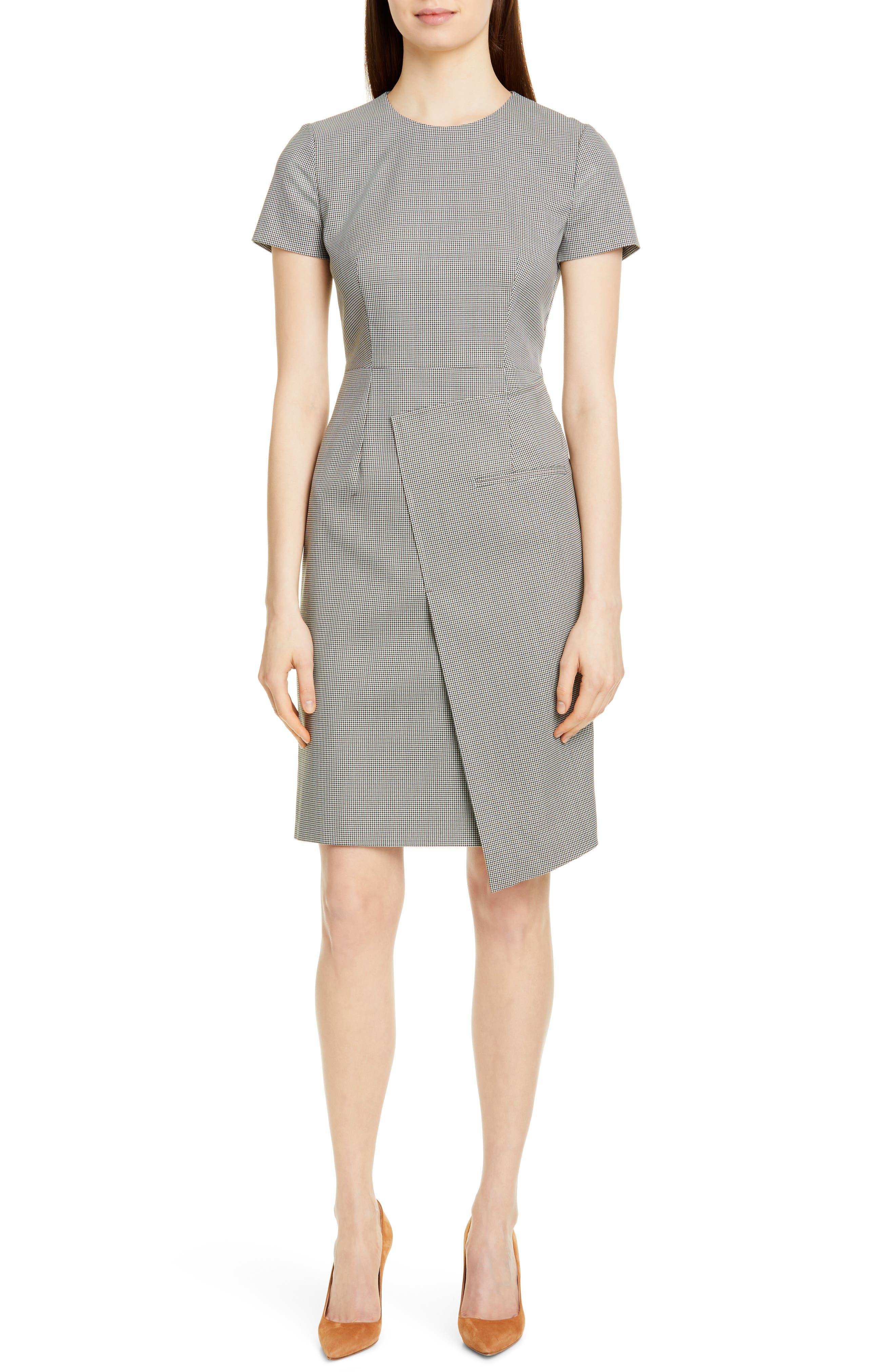 Petite Boss Dureta Mini Houndstooth Sheath Dress, P - Green