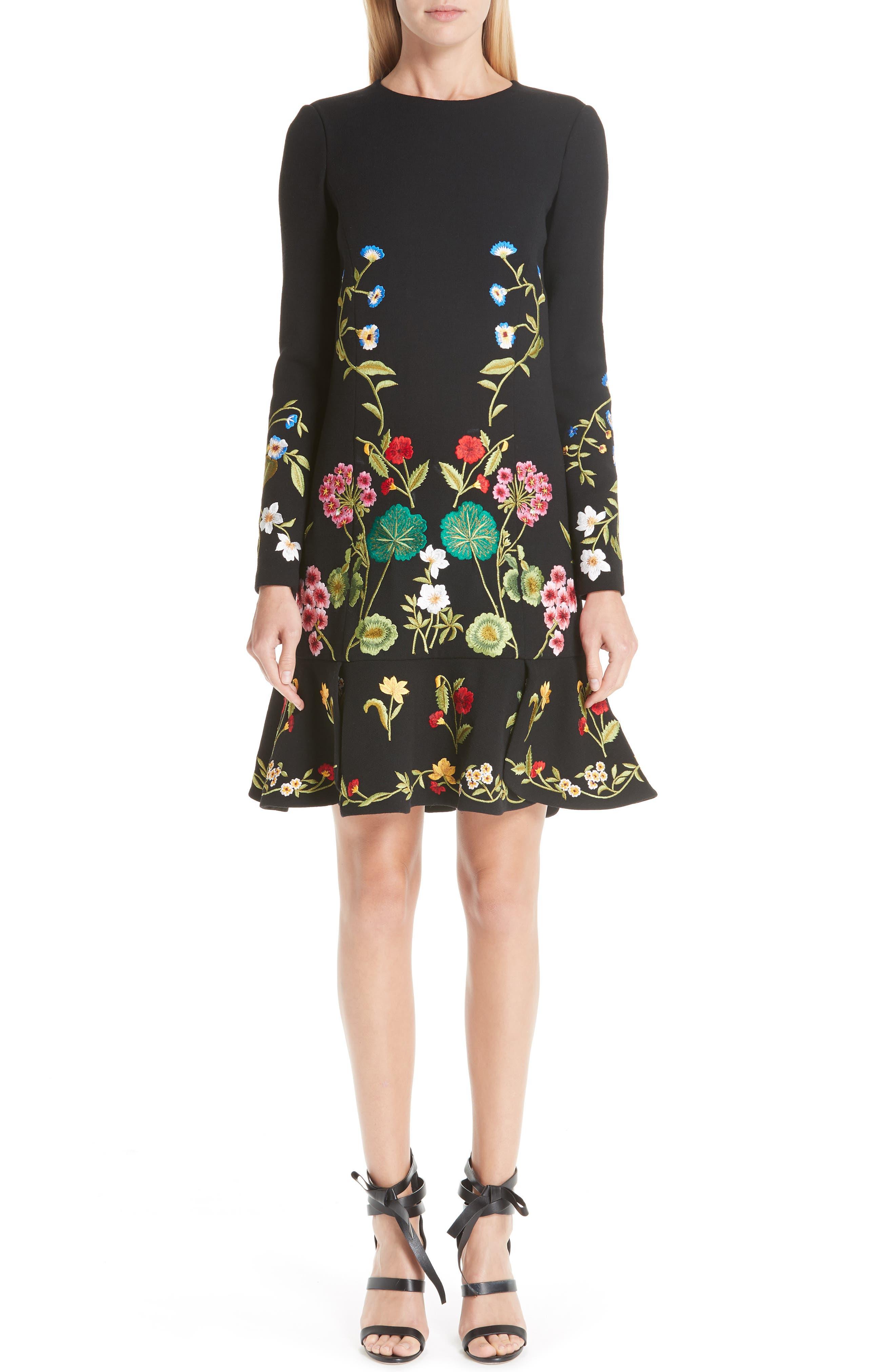 Oscar De La Renta Garden Embroidery Ruffle Hem Stretch Wool Dress, Black