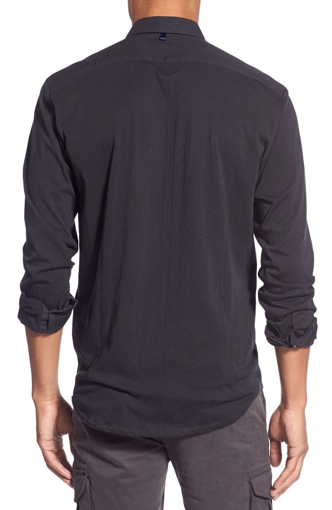 'Reworkd' Slim Fit Solid Mixed Media Sport Shirt,                             Alternate thumbnail 5, color,                             001