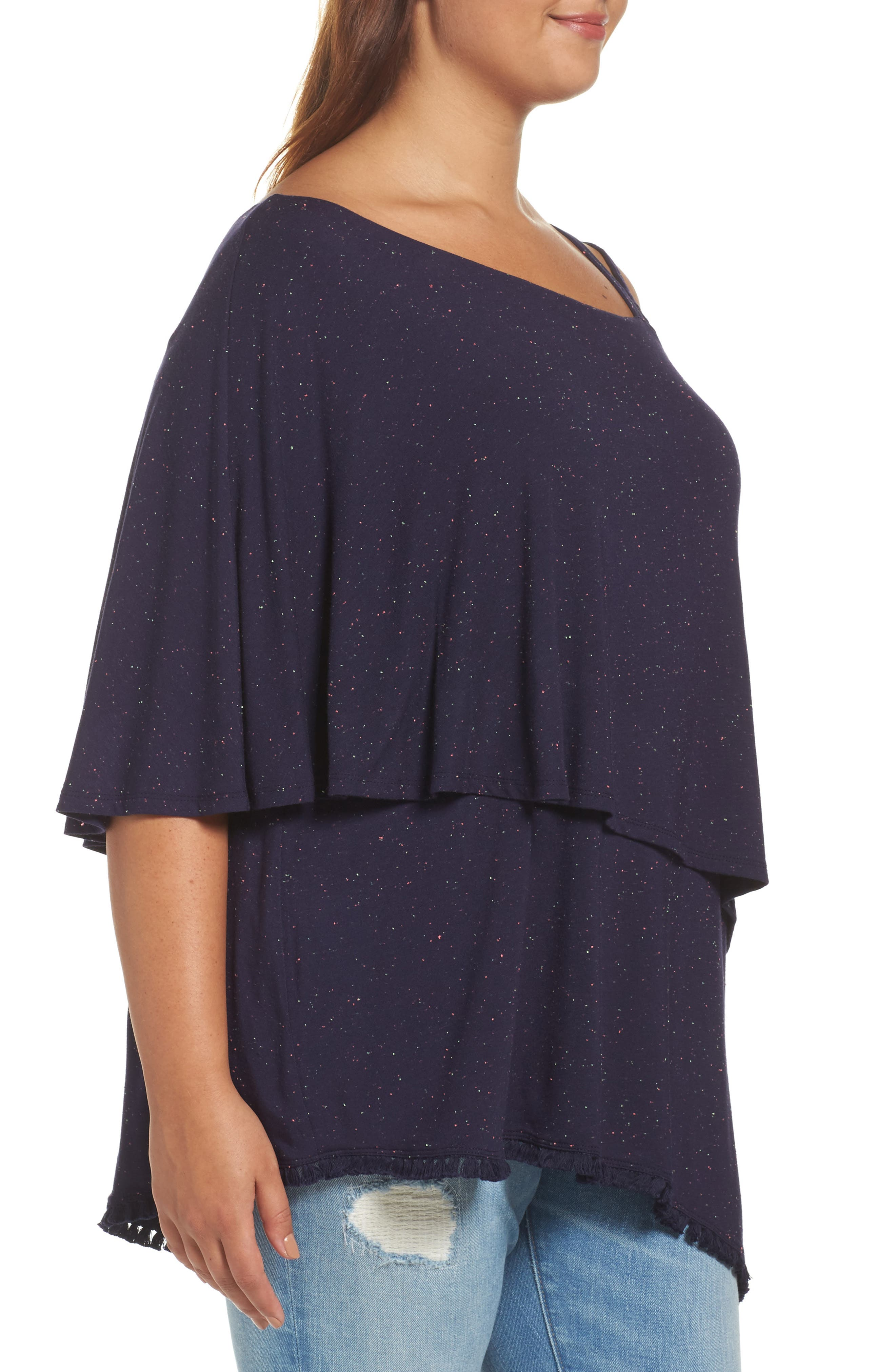 One-Shoulder Ruffle Asymmetrical Top,                             Alternate thumbnail 3, color,