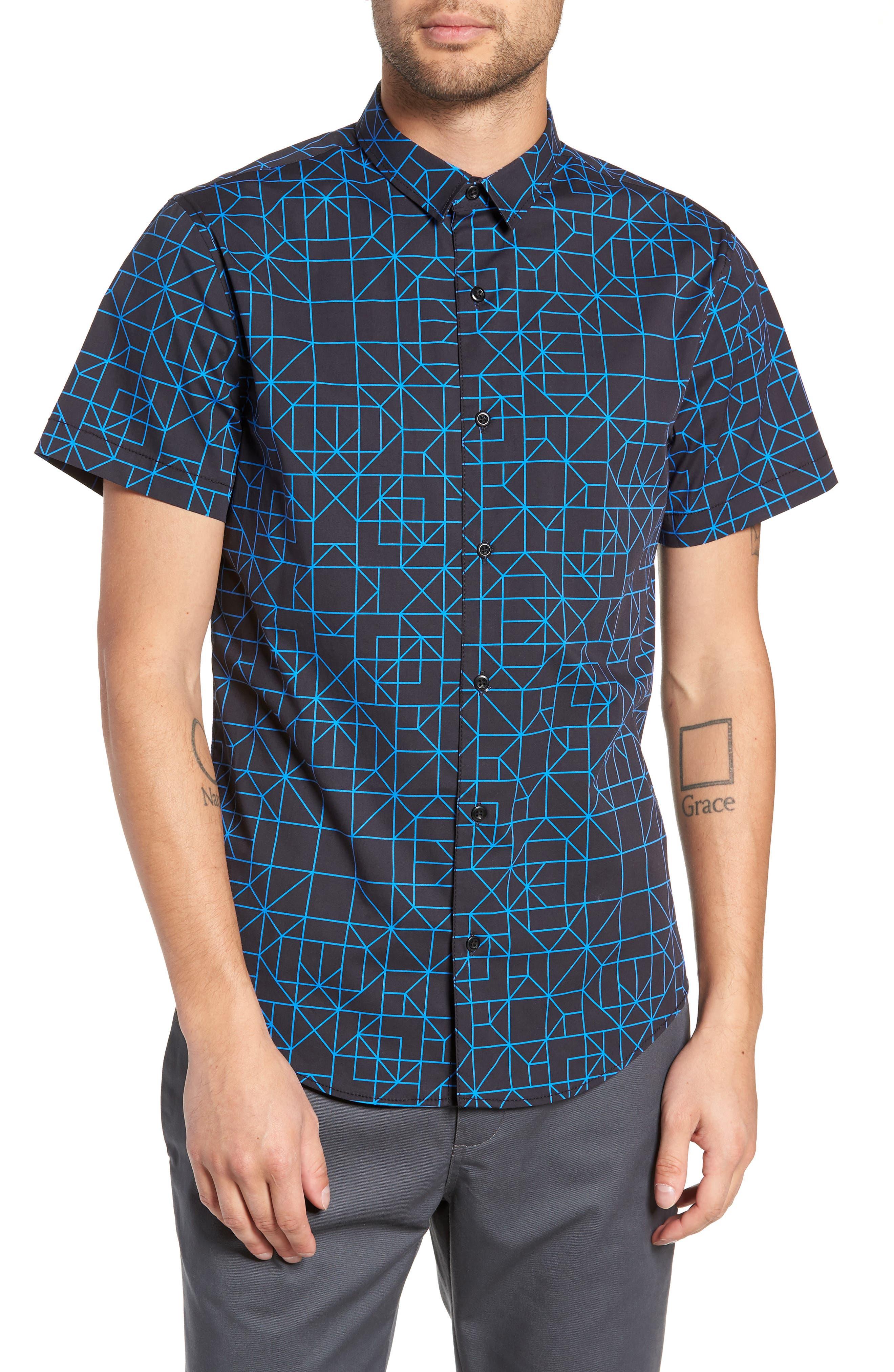Print Sport Shirt,                             Main thumbnail 1, color,                             BLACK BLUE GRID GEO