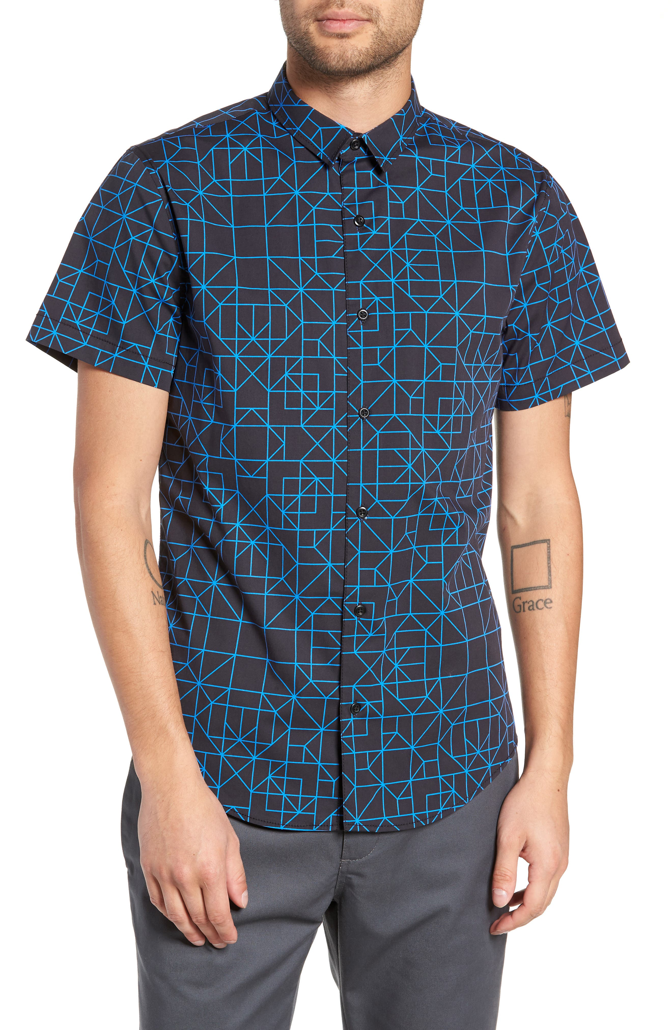 Print Sport Shirt,                         Main,                         color, BLACK BLUE GRID GEO