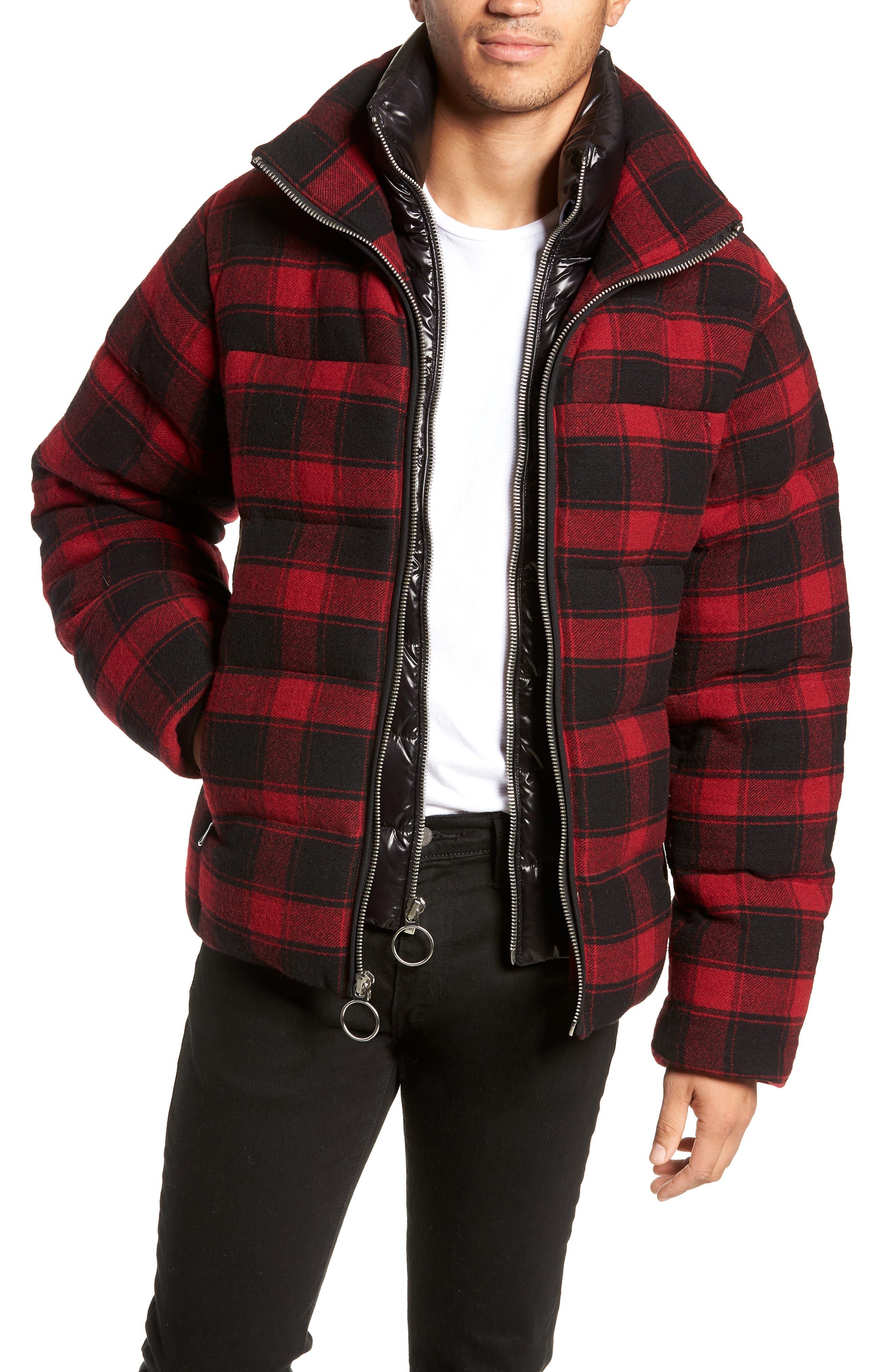 The Very Warm Crosby Plaid Wool Bib Puffer Jacket, Red