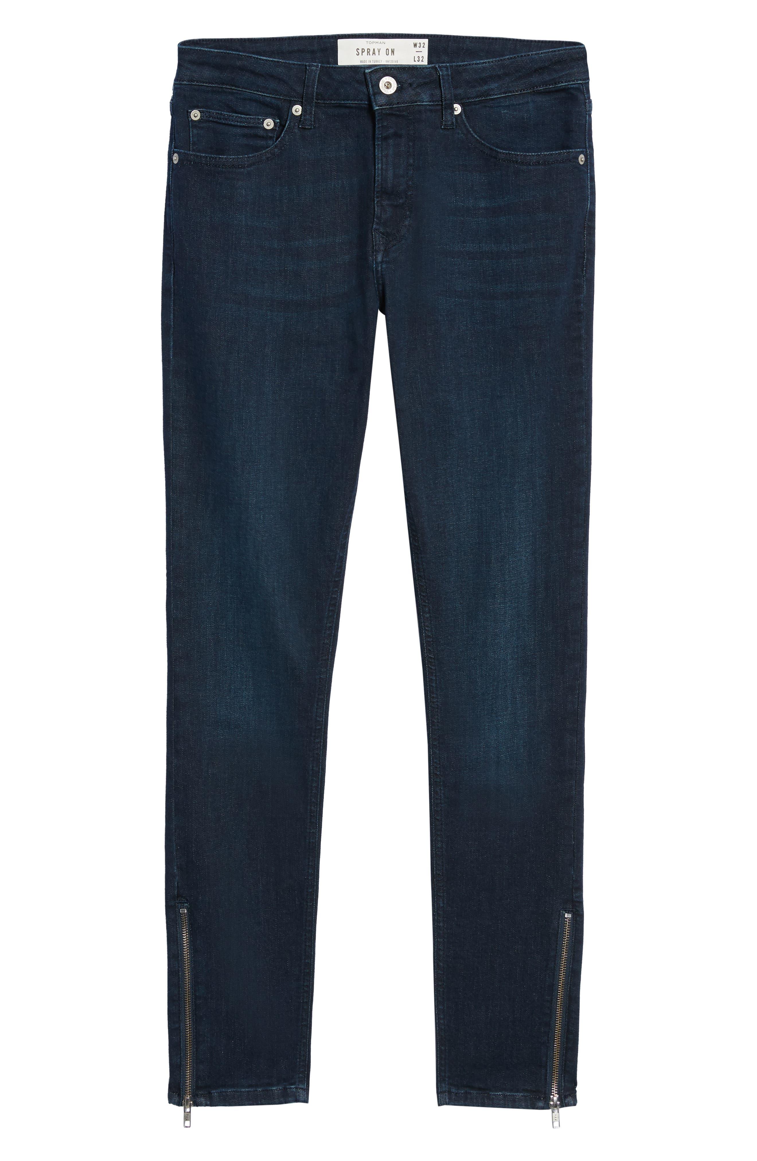 Zip Hem Spray-On Skinny Jeans,                             Alternate thumbnail 6, color,                             BLUE
