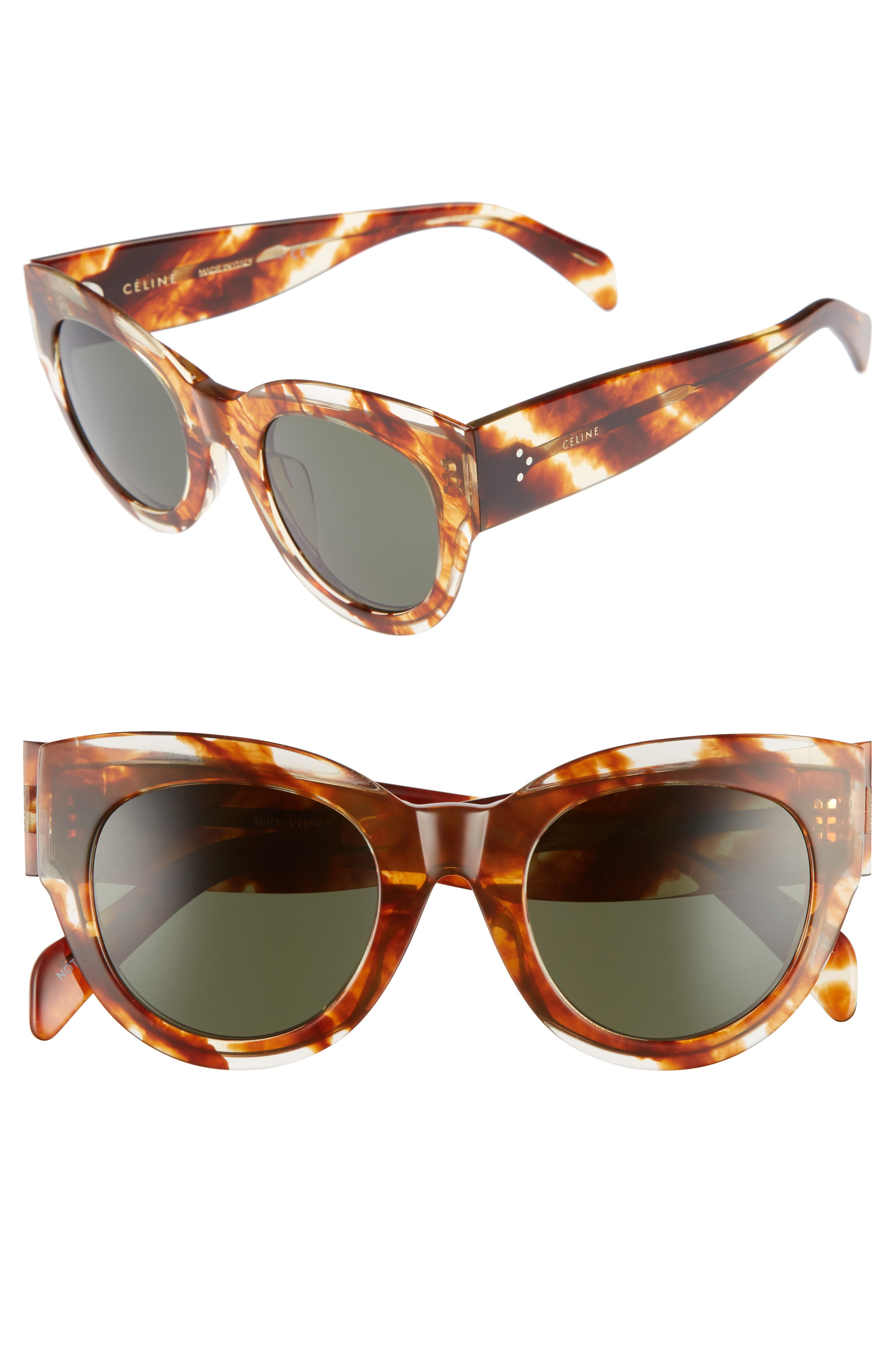 Special Fit 50mm Cat Eye Sunglasses,                             Main thumbnail 1, color,                             STRIPED COGNAC HAVANA/ GREEN