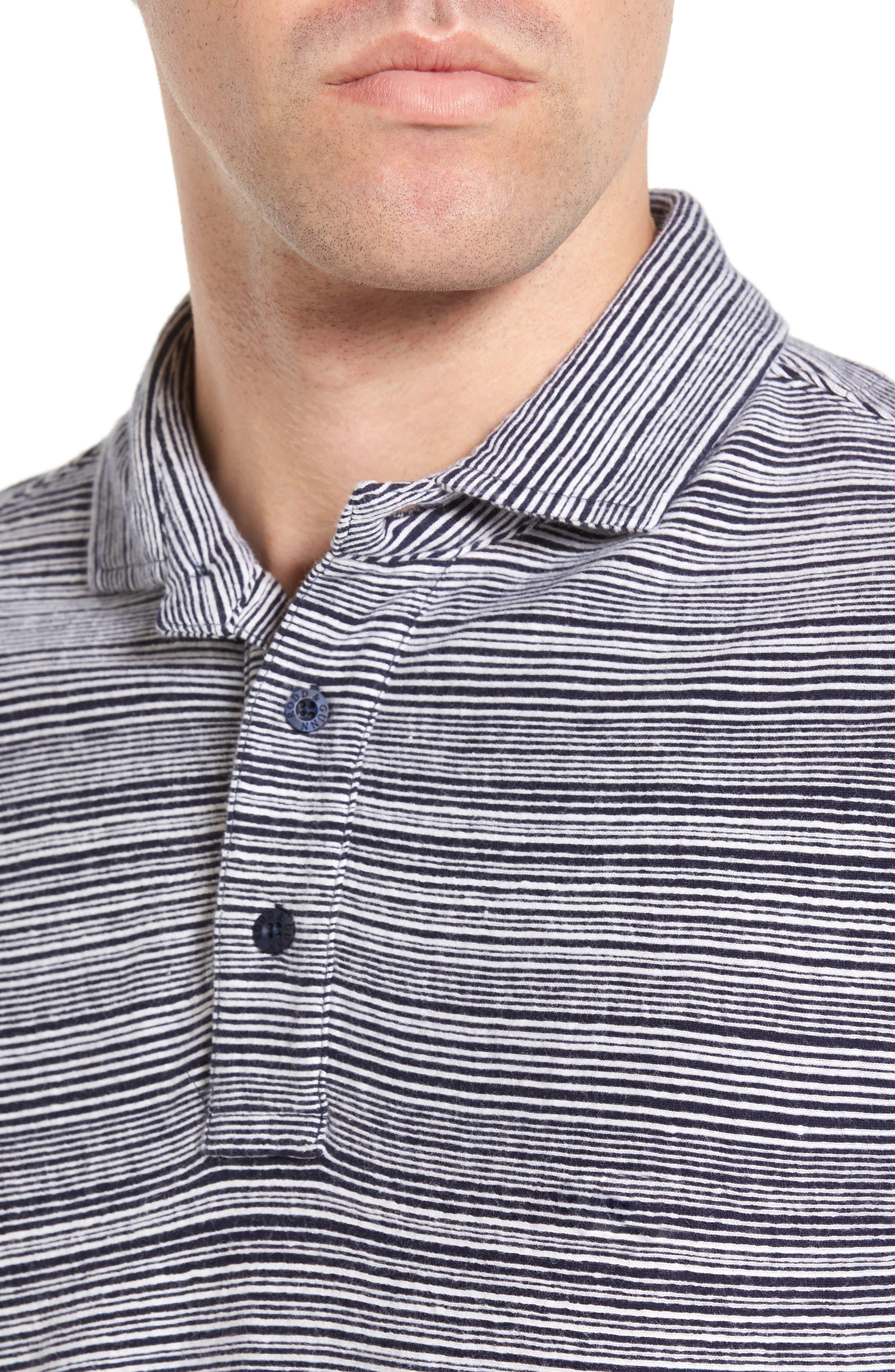 St Kilda Sports Fit Stripe Jersey Knit Polo,                             Alternate thumbnail 4, color,                             410