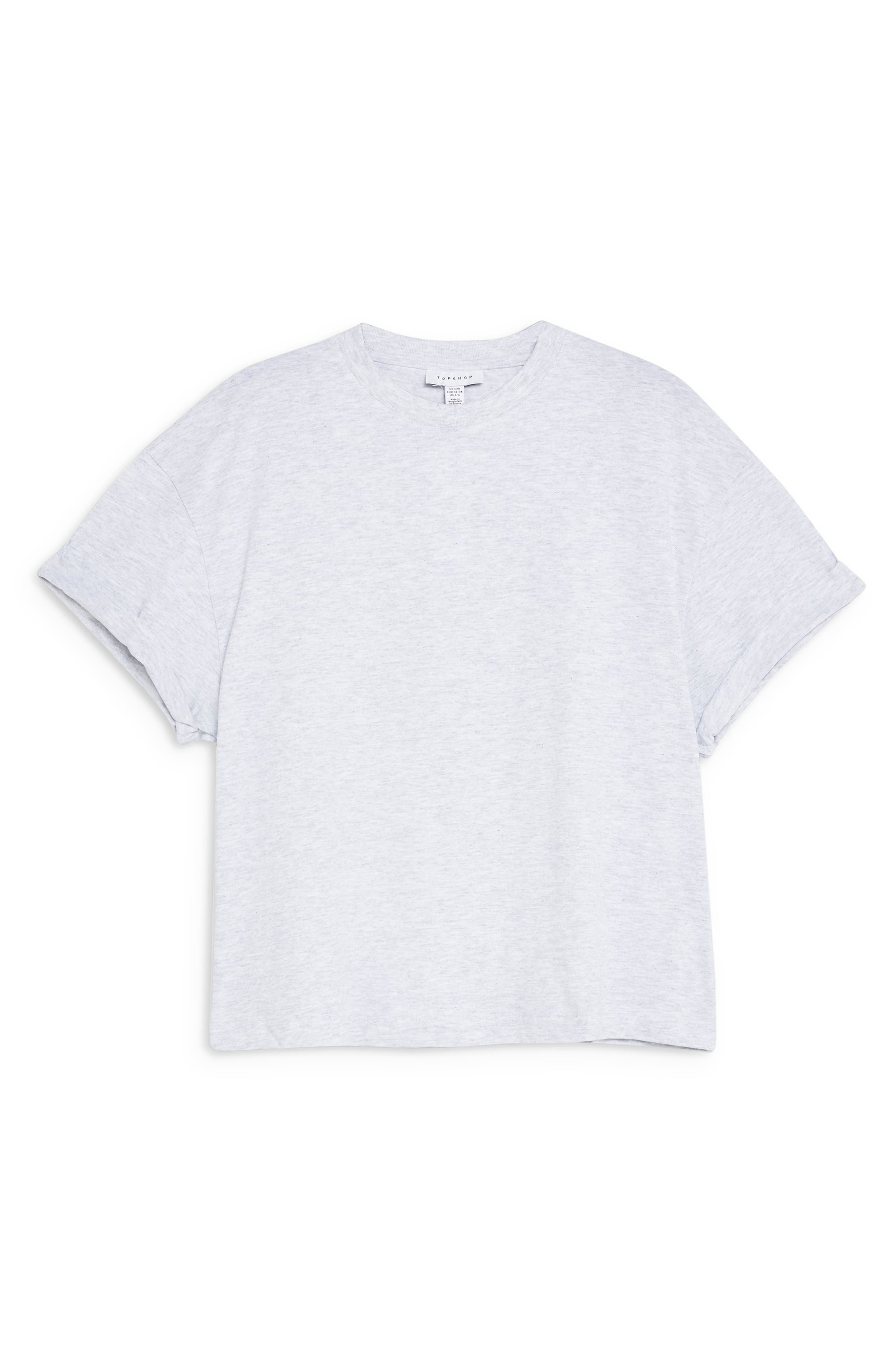 TOPSHOP,                             Boxy Roll Tee,                             Alternate thumbnail 3, color,                             GREY