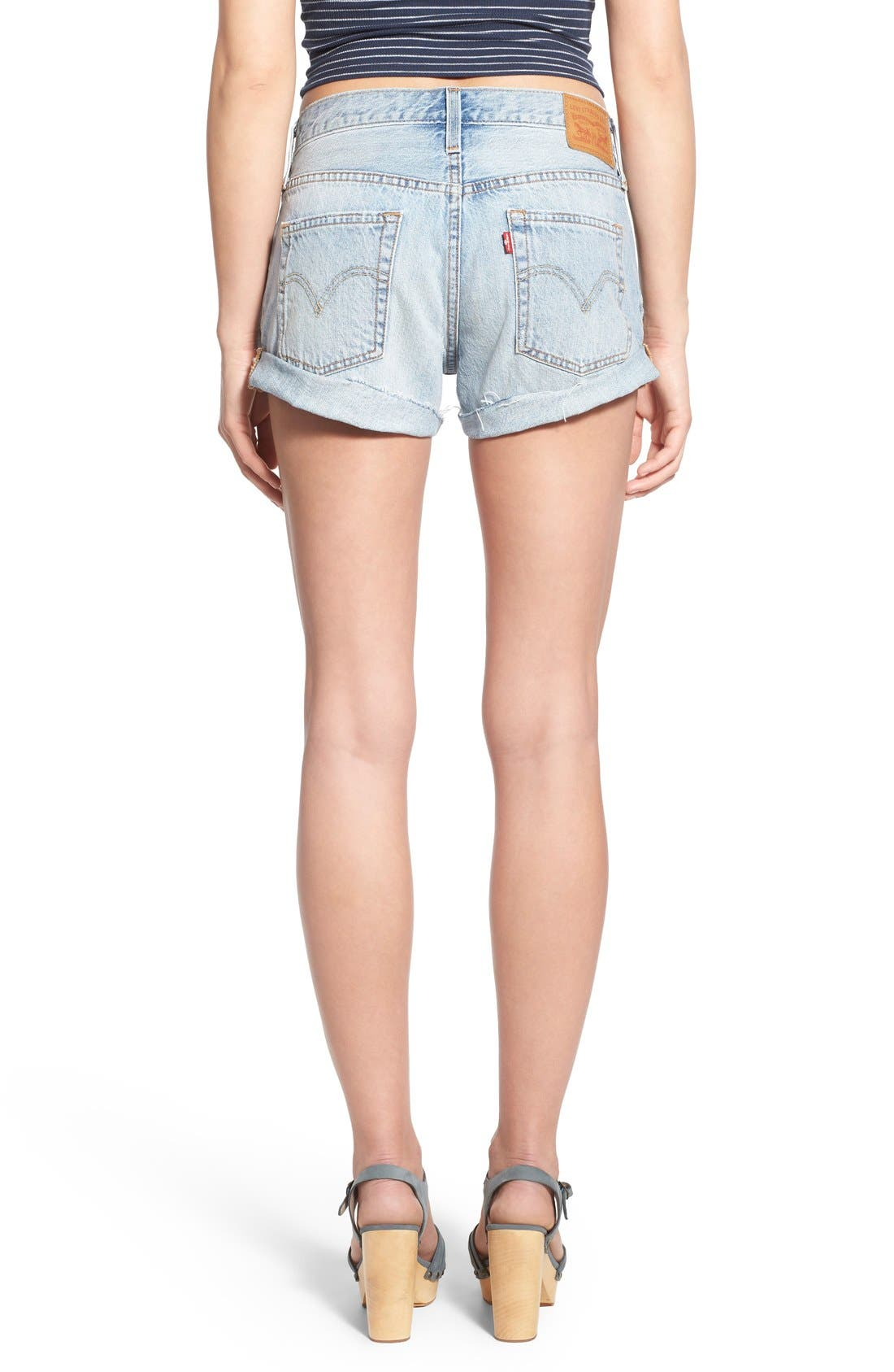 LEVI'S<SUP>®</SUP>,                             '501<sup>®</sup> Customized' Distressed Rolled Denim Shorts,                             Alternate thumbnail 3, color,                             401