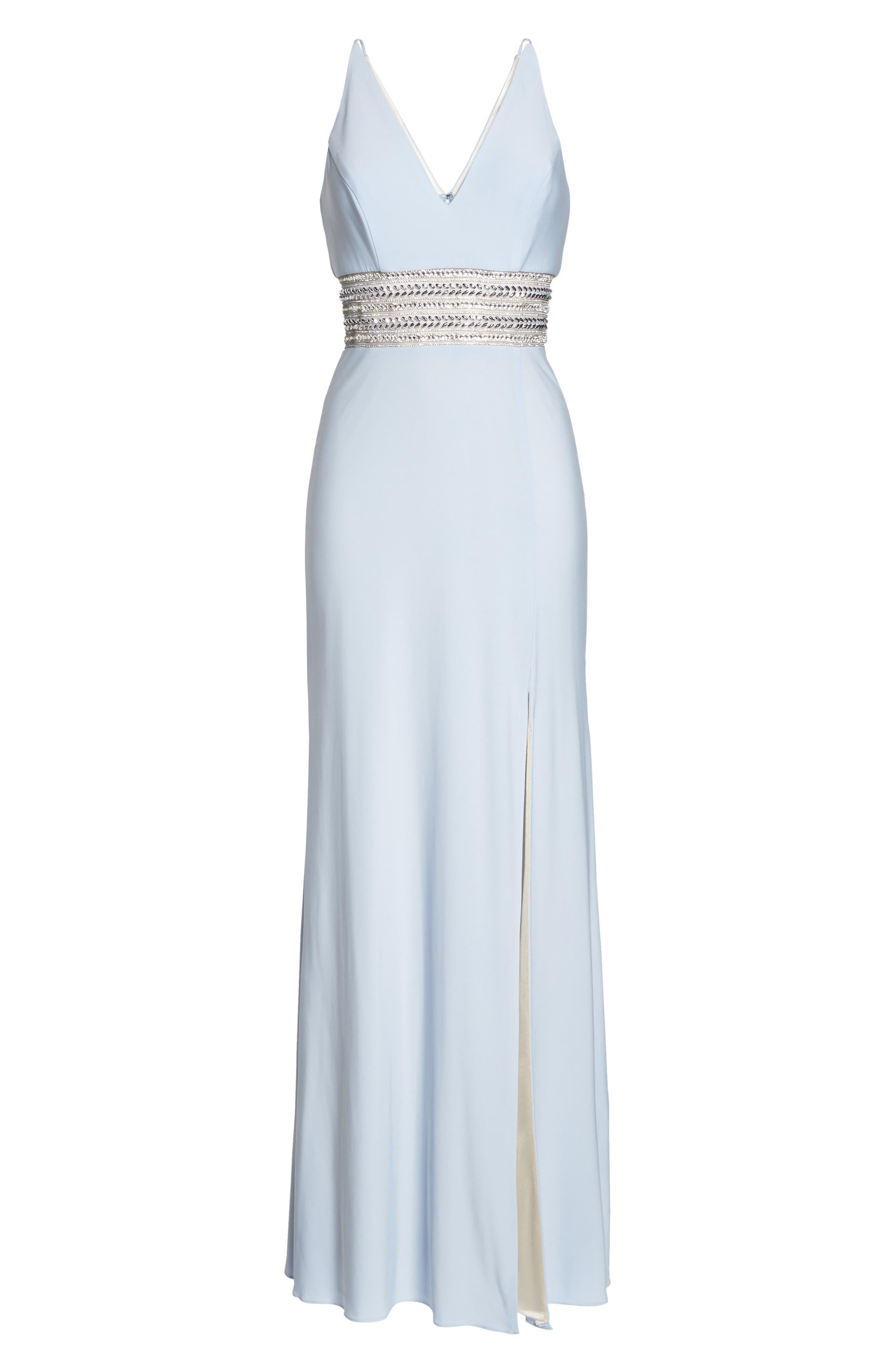Beaded Waist Gown,                             Alternate thumbnail 6, color,                             450