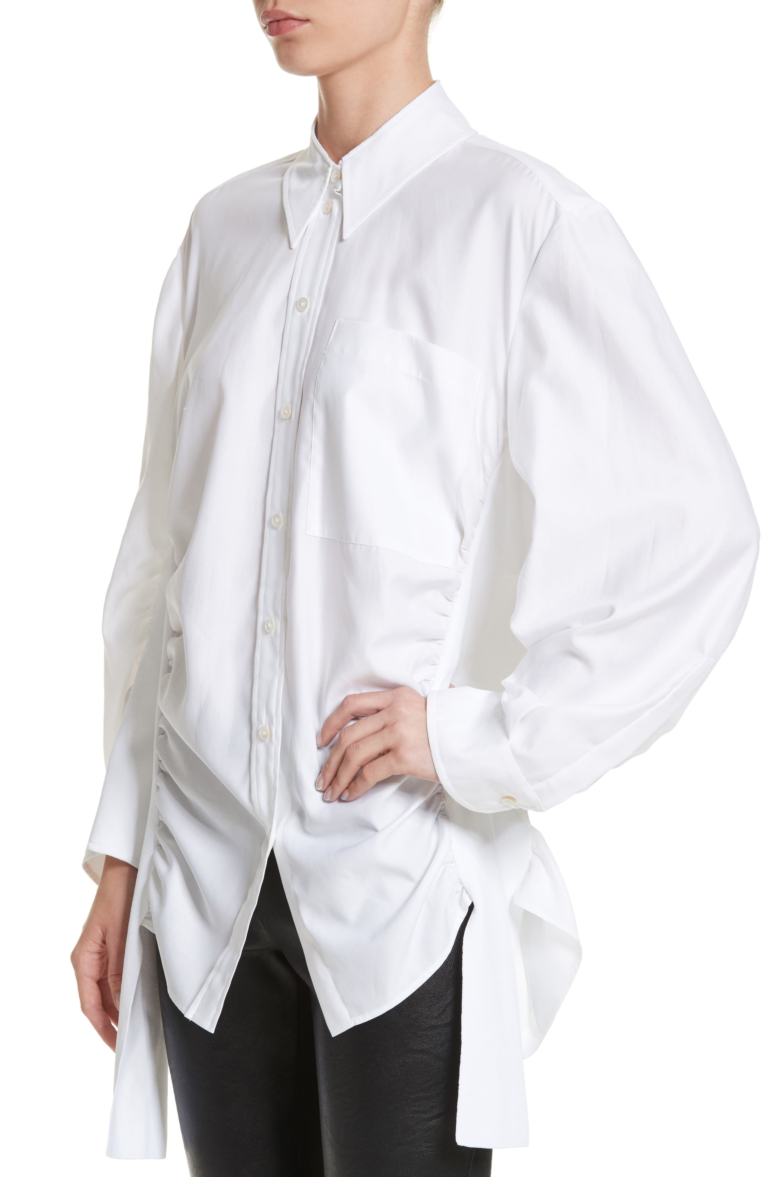 Tape Detail Cotton Shirt,                             Alternate thumbnail 4, color,                             100