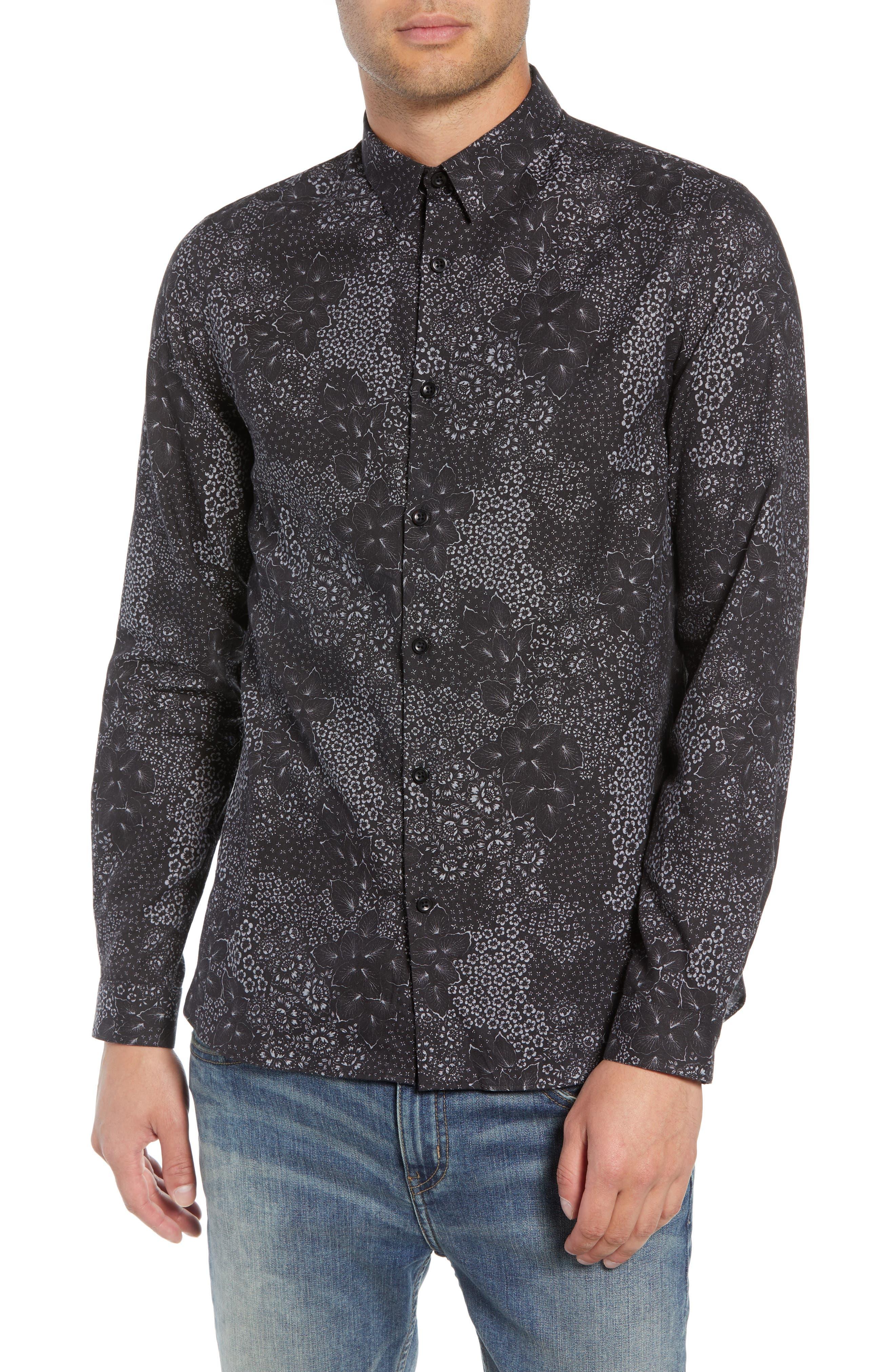 Slim Fit Print Sport Shirt,                             Main thumbnail 1, color,                             BLACK