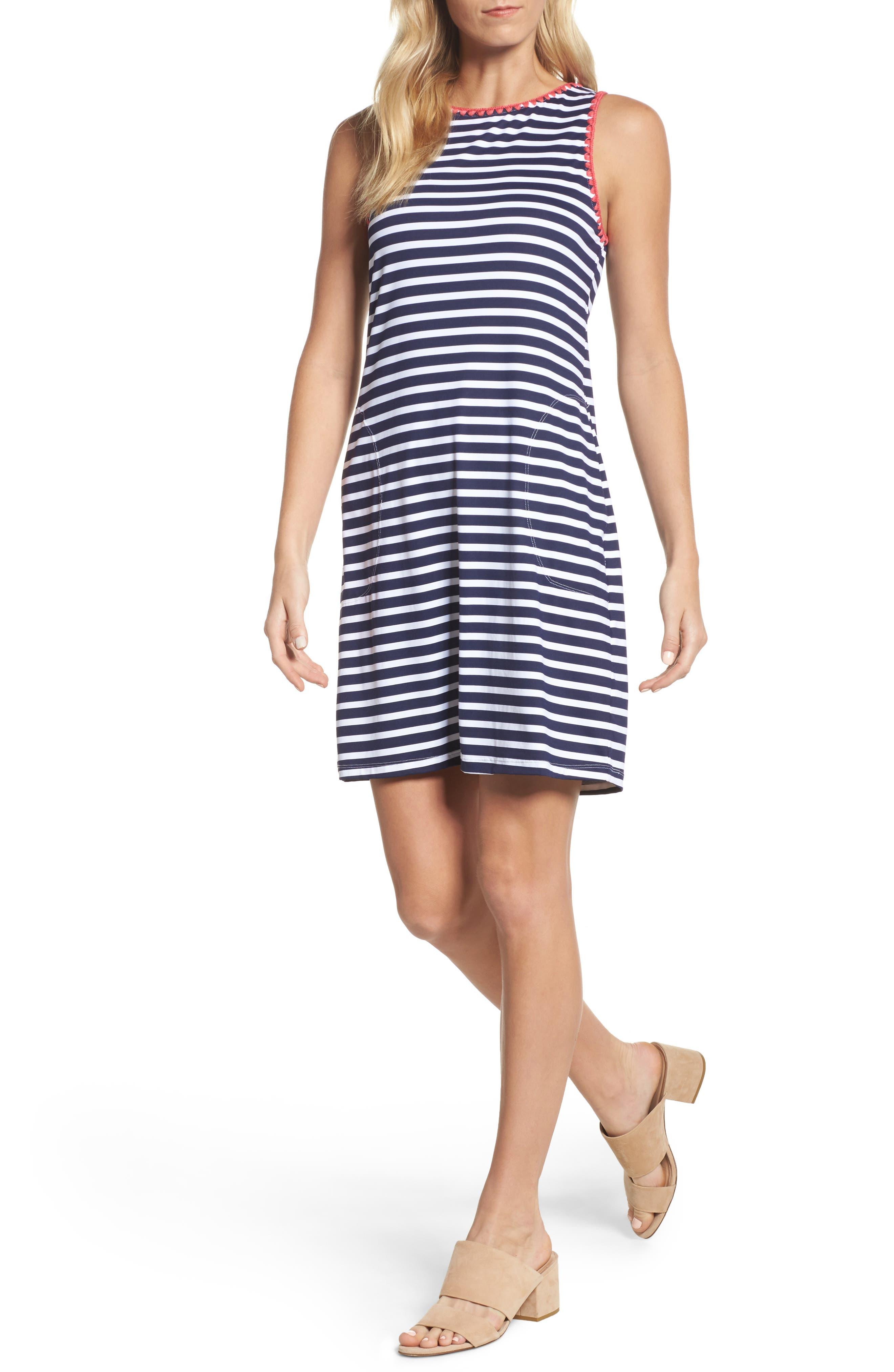 Breton Stripe Cover-Up Dress,                             Main thumbnail 1, color,                             MARE NAVY/ WHITE