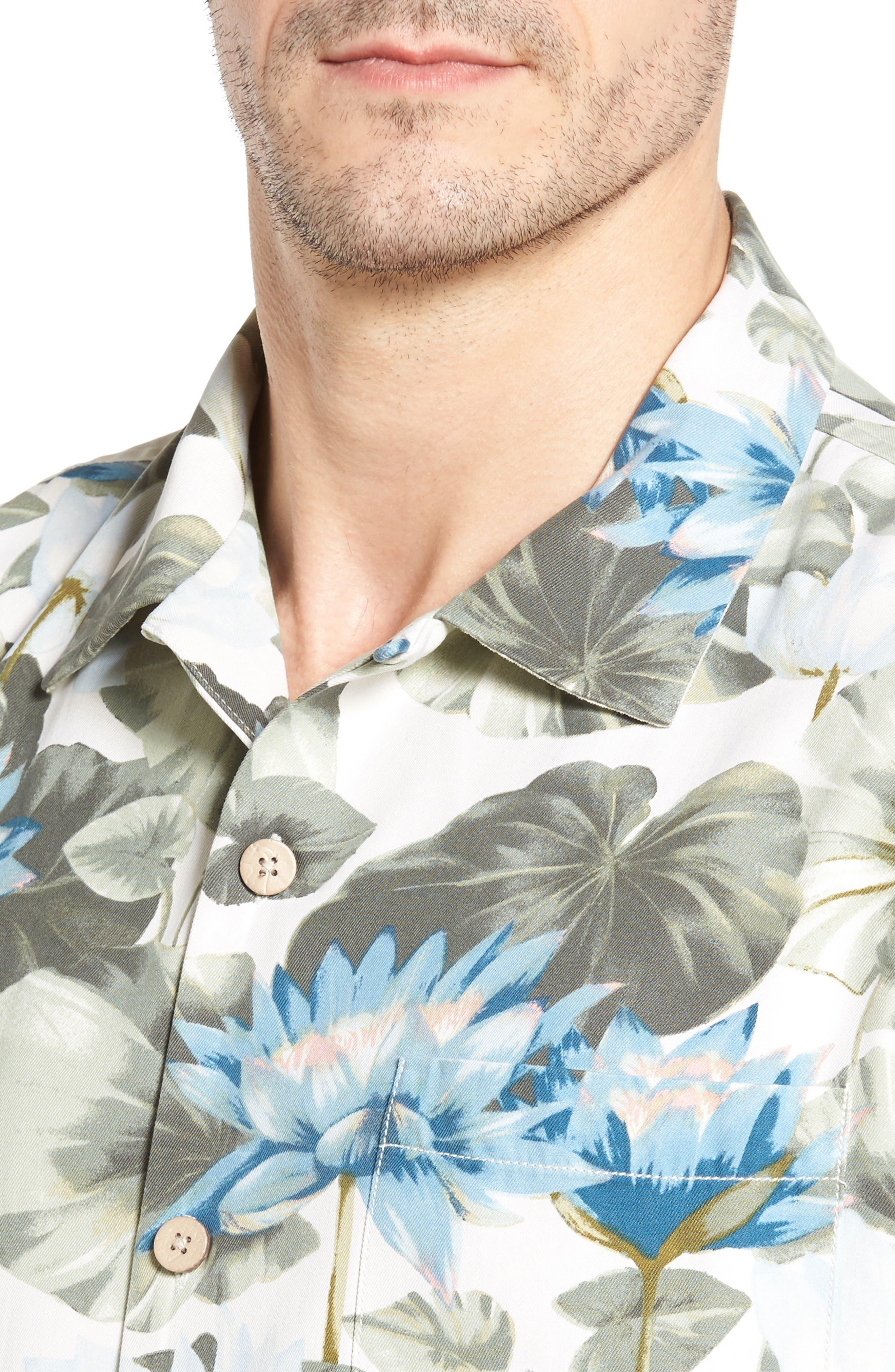 Lagoon Lotus Original Fit Silk Camp Shirt,                             Alternate thumbnail 4, color,                             100
