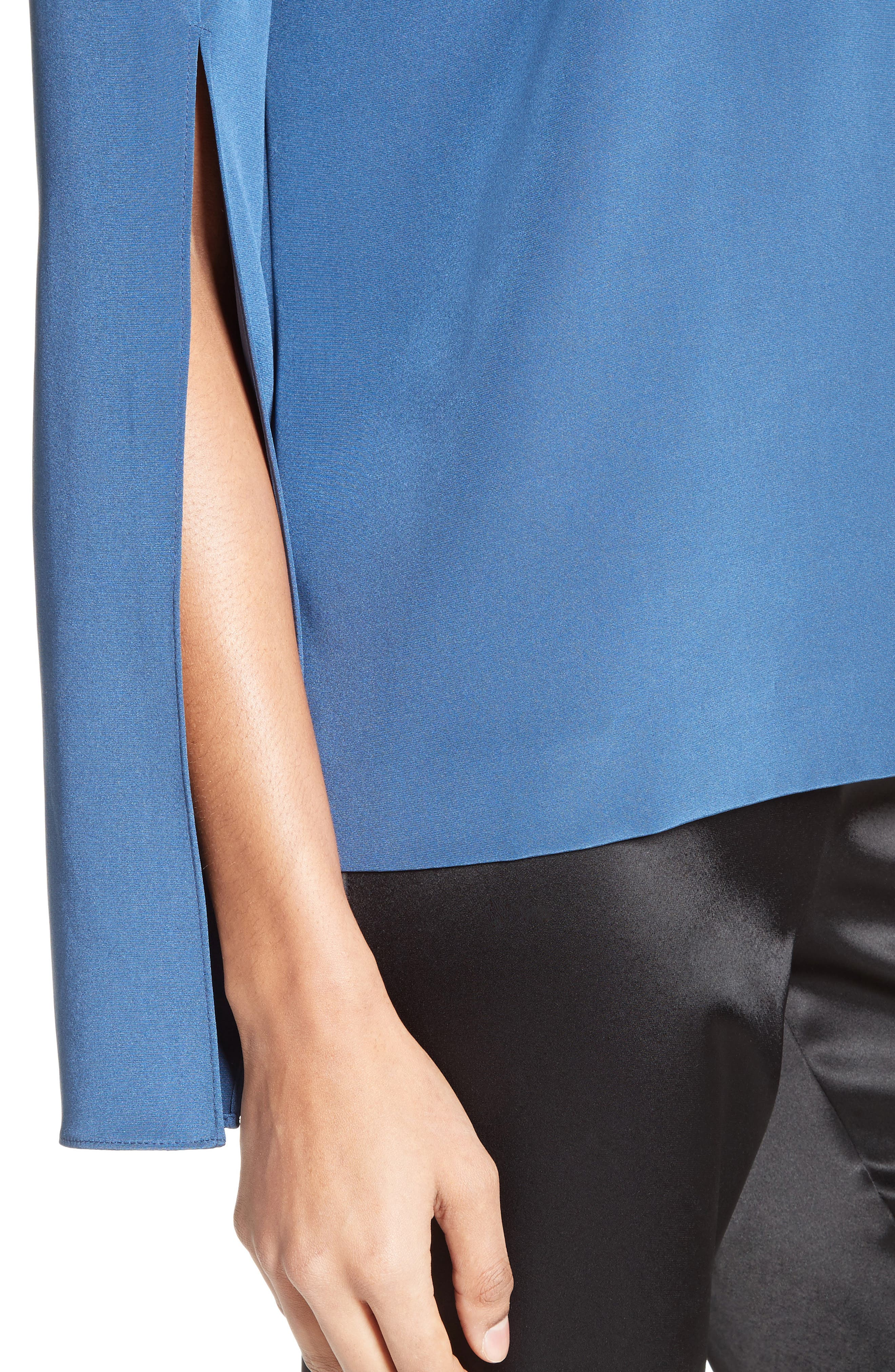 Back Bow Stretch Silk Blouse,                             Alternate thumbnail 4, color,