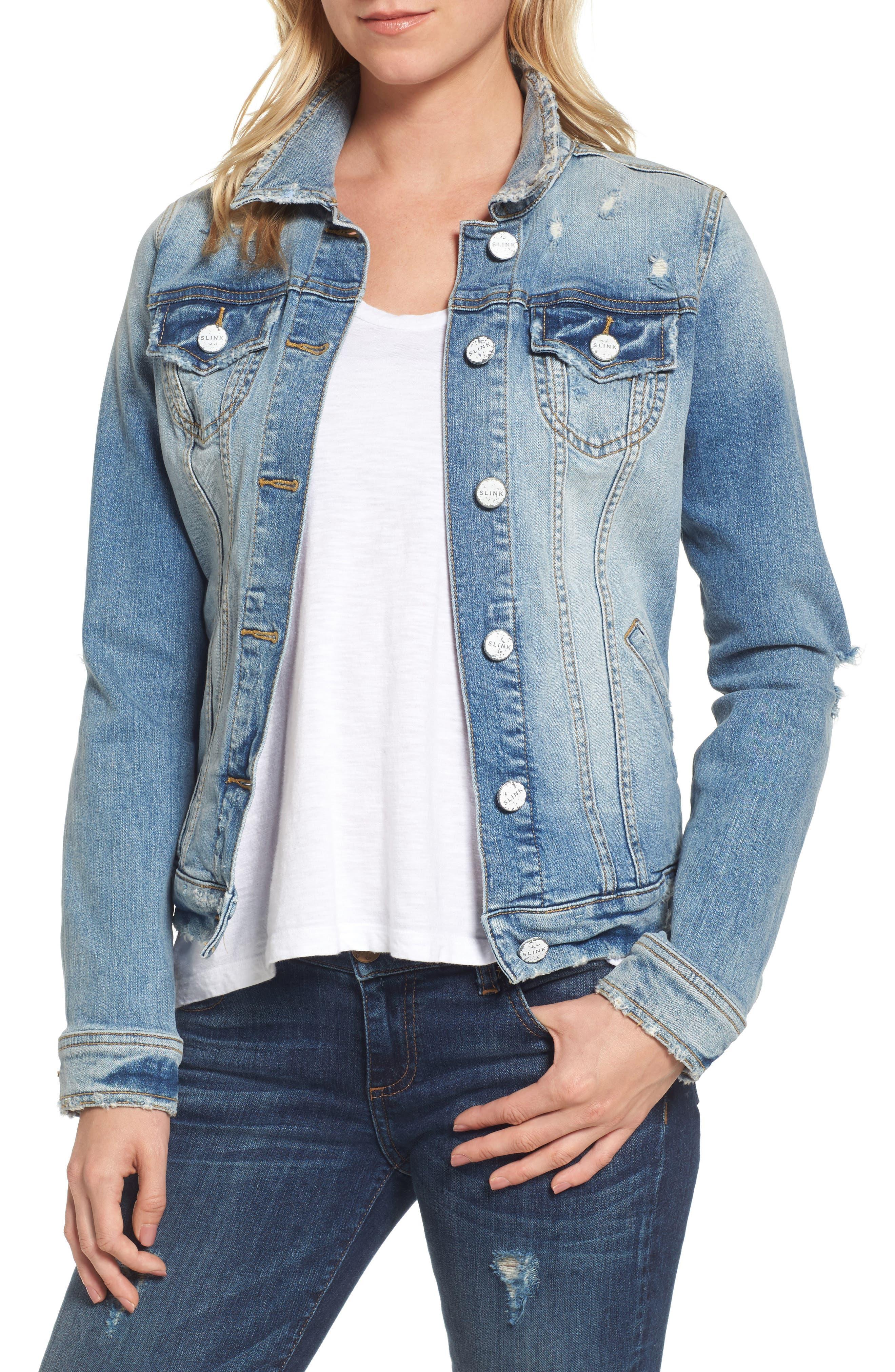 Distressed Denim Jacket,                         Main,                         color, KEZIAH