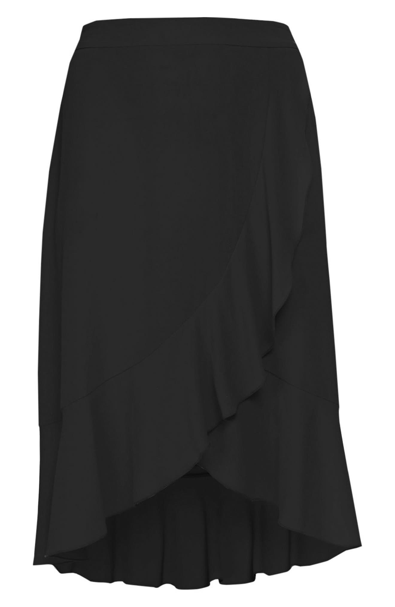 Ruffle Midi Skirt,                             Alternate thumbnail 3, color,                             001