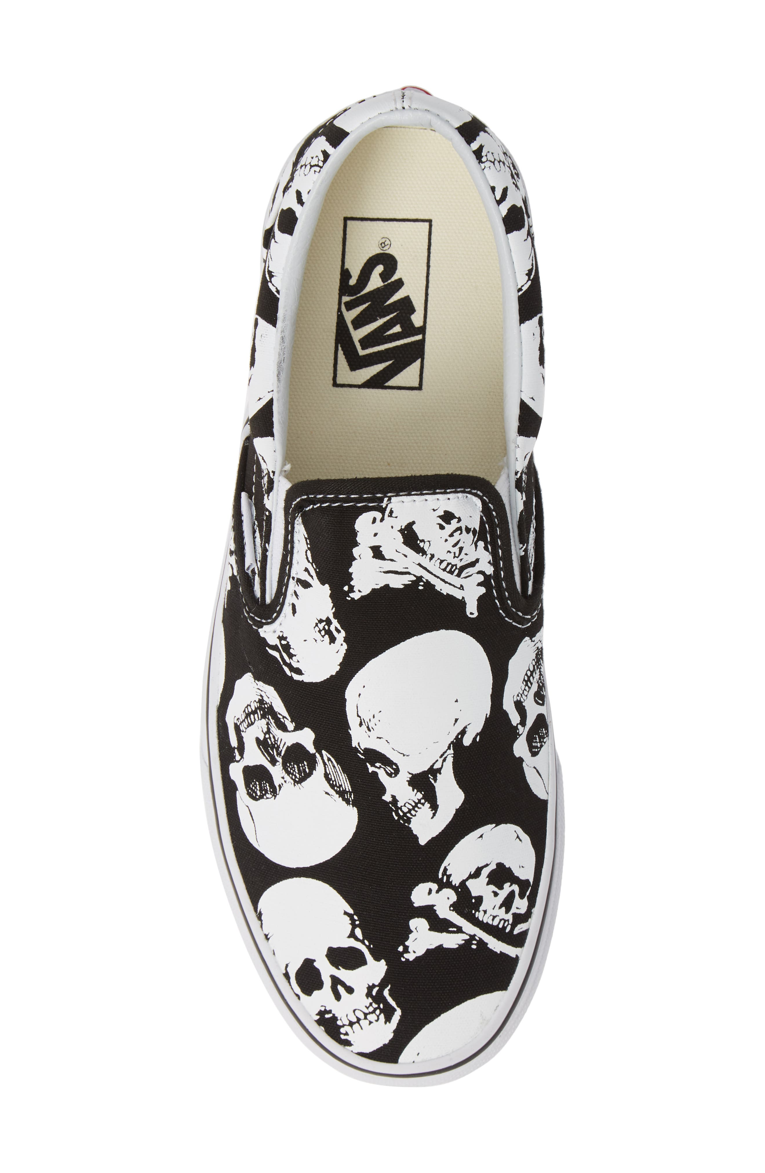 Classic - Skulls Slip-On,                             Alternate thumbnail 5, color,                             BLACK/ TRUE WHITE CANVAS