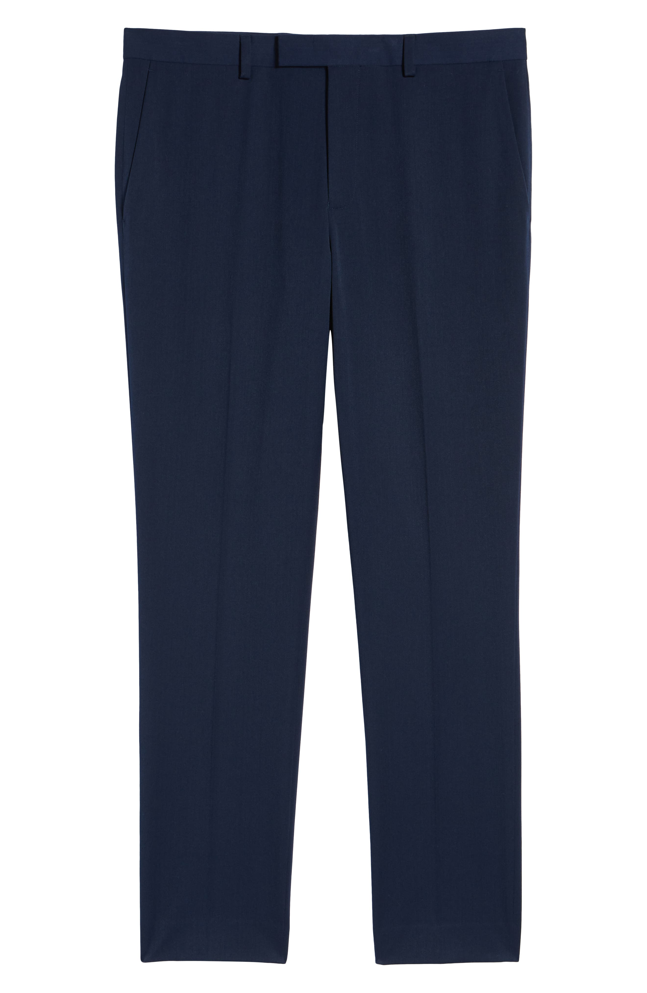 Muscle Fit Trousers,                             Alternate thumbnail 6, color,                             NAVY BLUE
