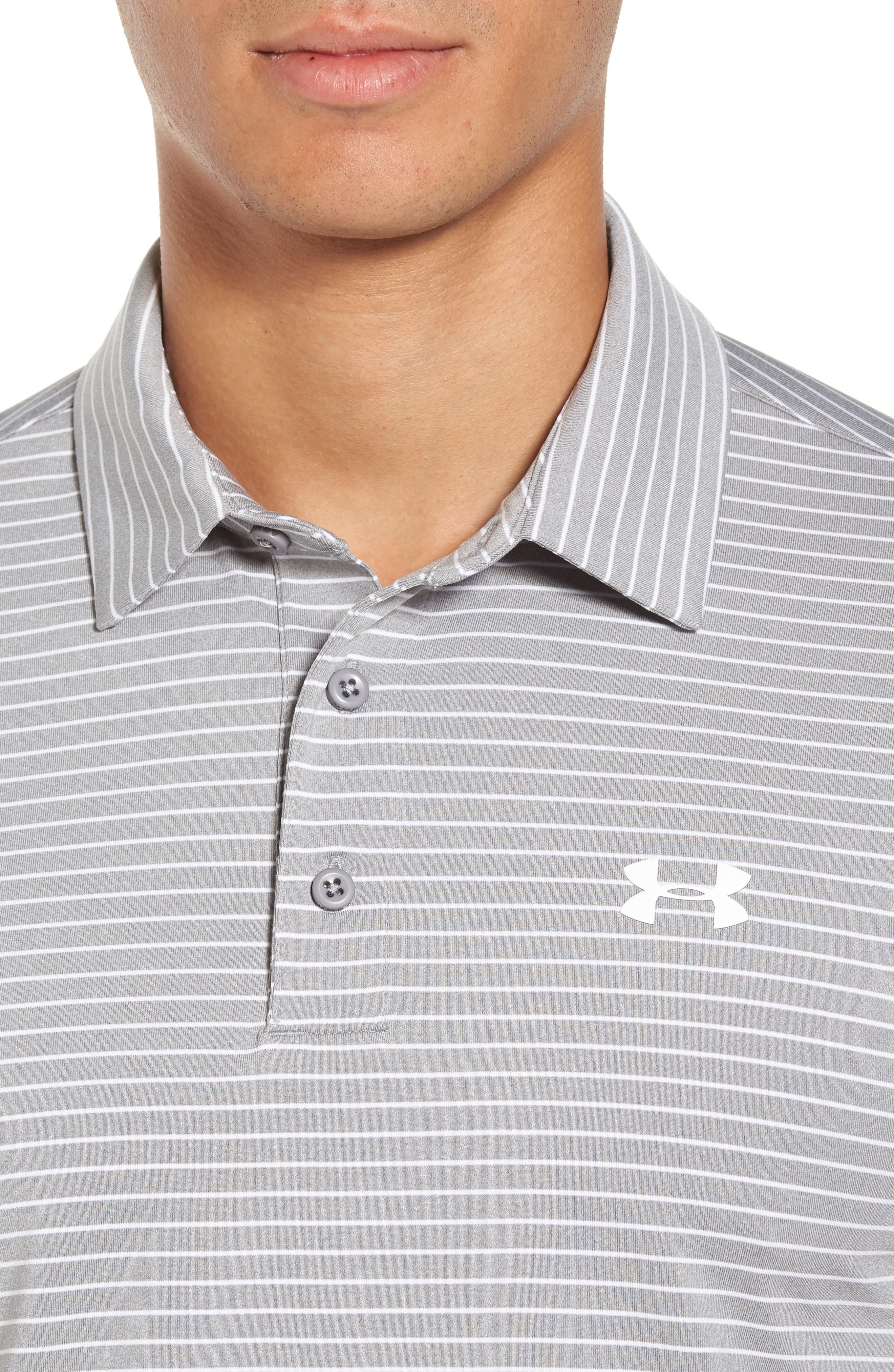 'Playoff' Loose Fit Short Sleeve Polo,                             Alternate thumbnail 4, color,                             TRUE GREY HEATHER/ WHT STRIPE