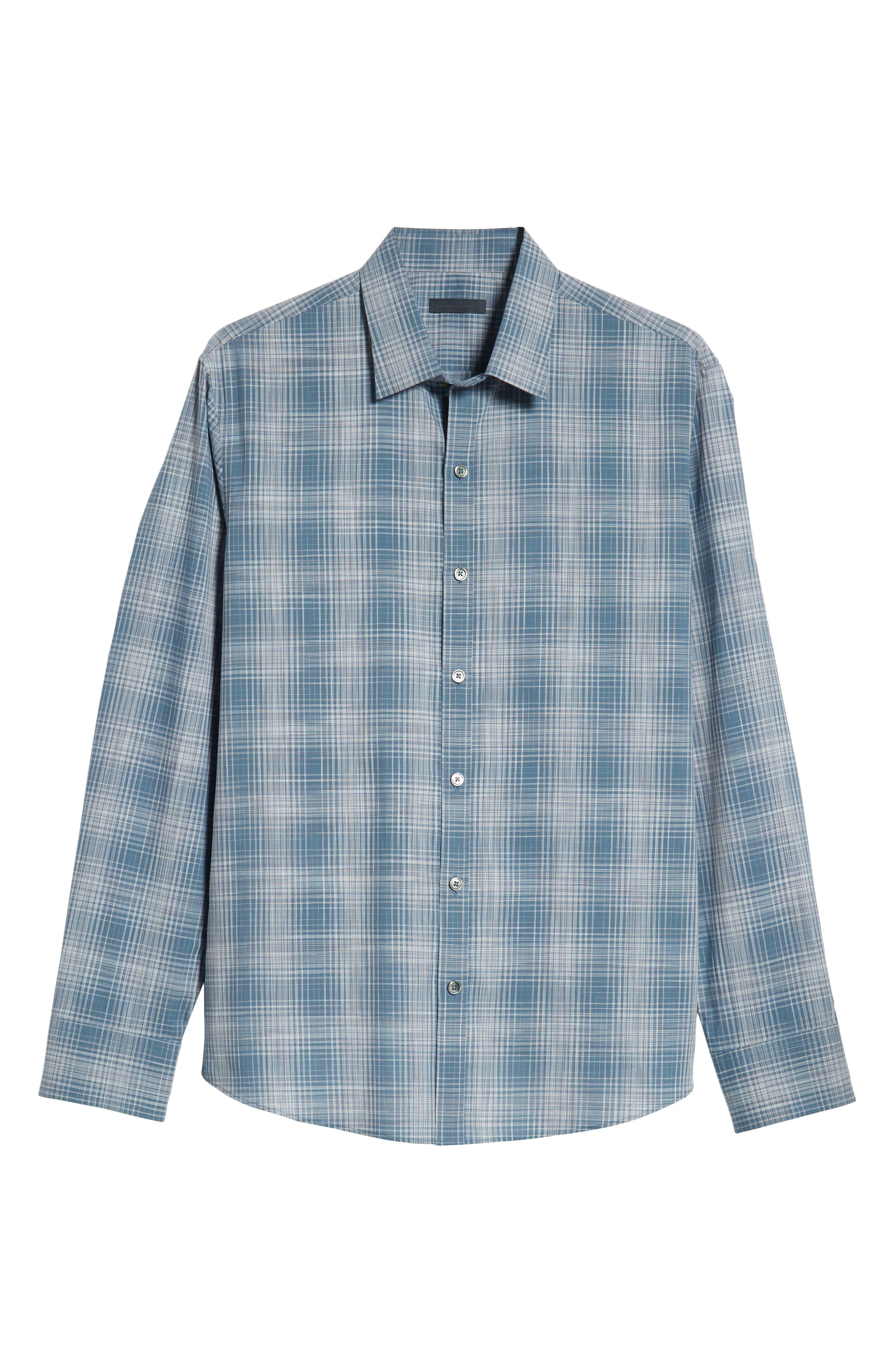 Slater Check Sport Shirt,                             Alternate thumbnail 5, color,                             PALE BLUE