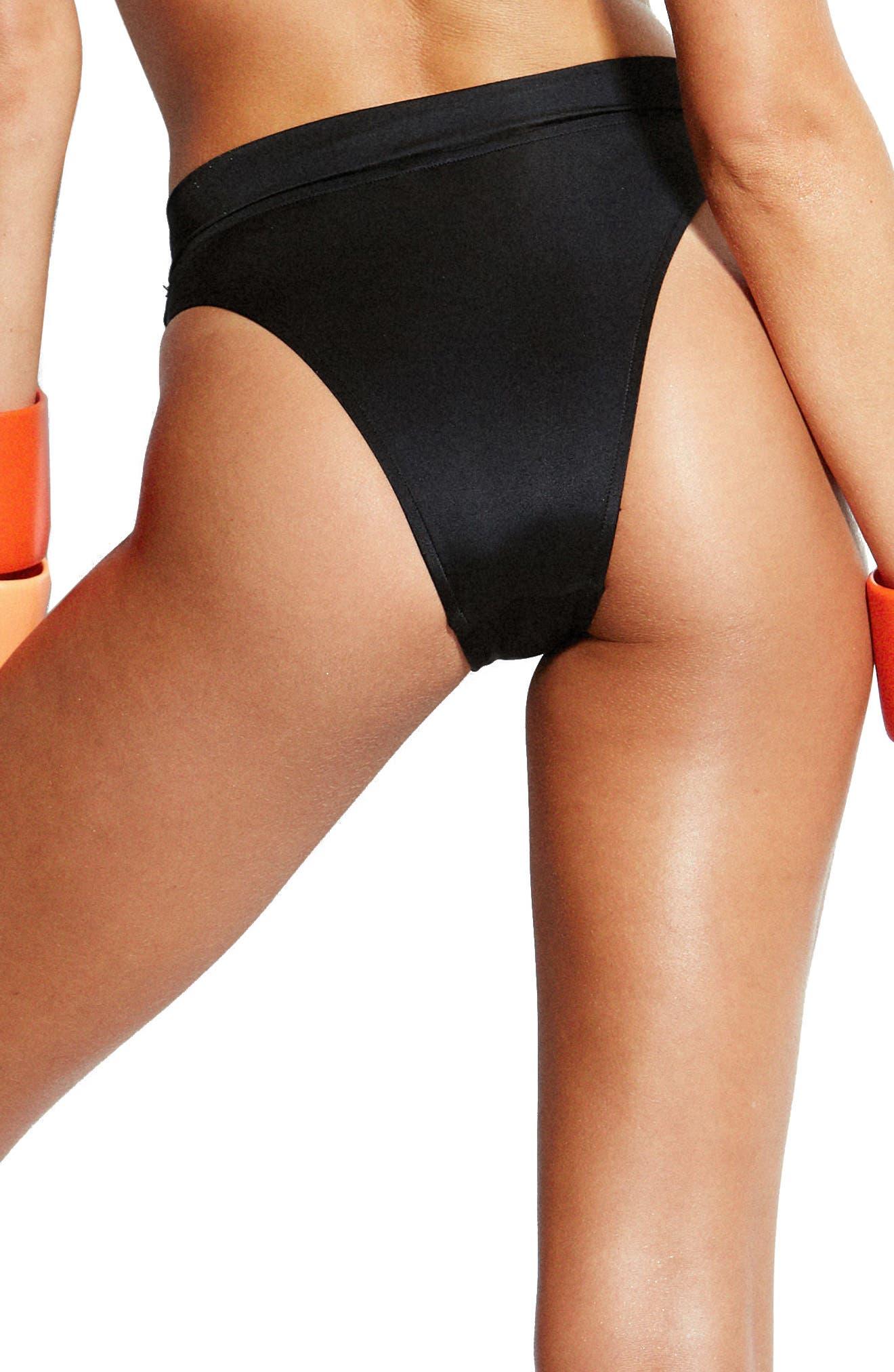 Arizona High Rise Bikini Bottoms,                             Alternate thumbnail 2, color,                             BLACK