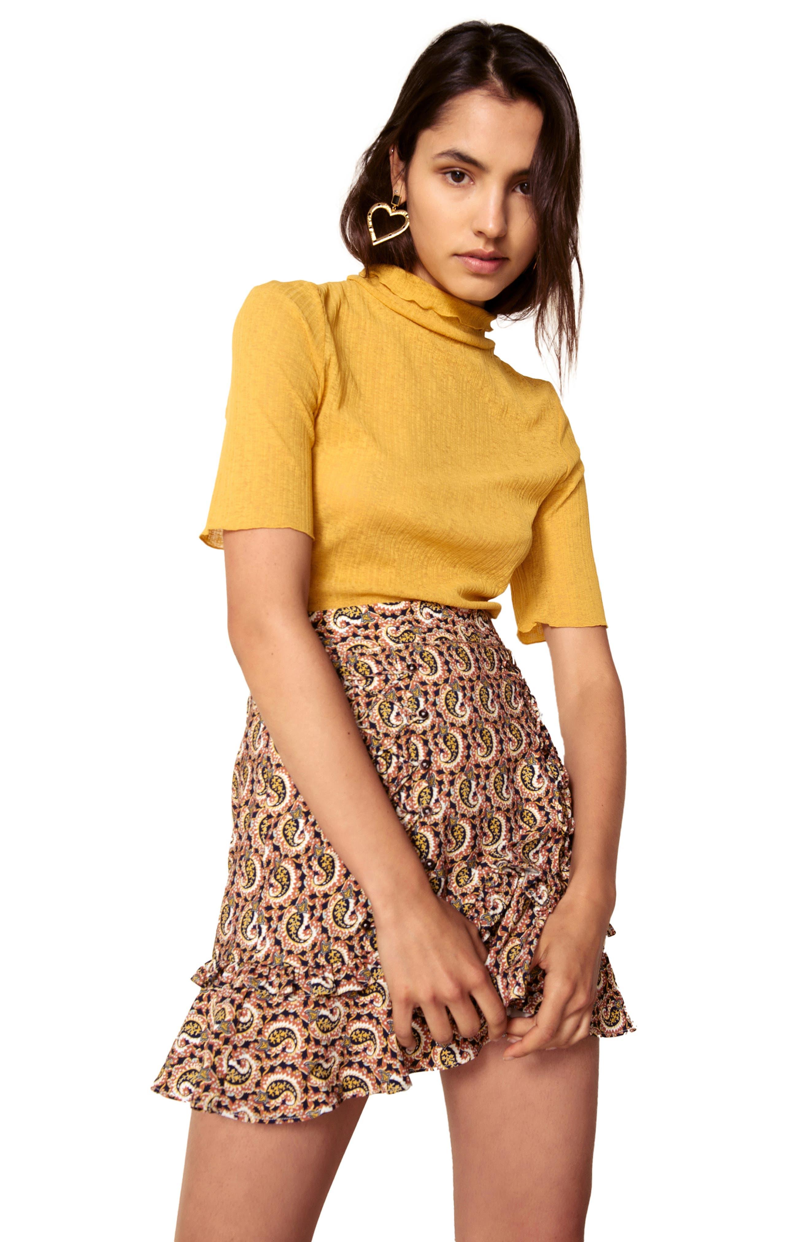 Alix Paisley Skirt,                             Alternate thumbnail 4, color,                             OCHRE IDOL