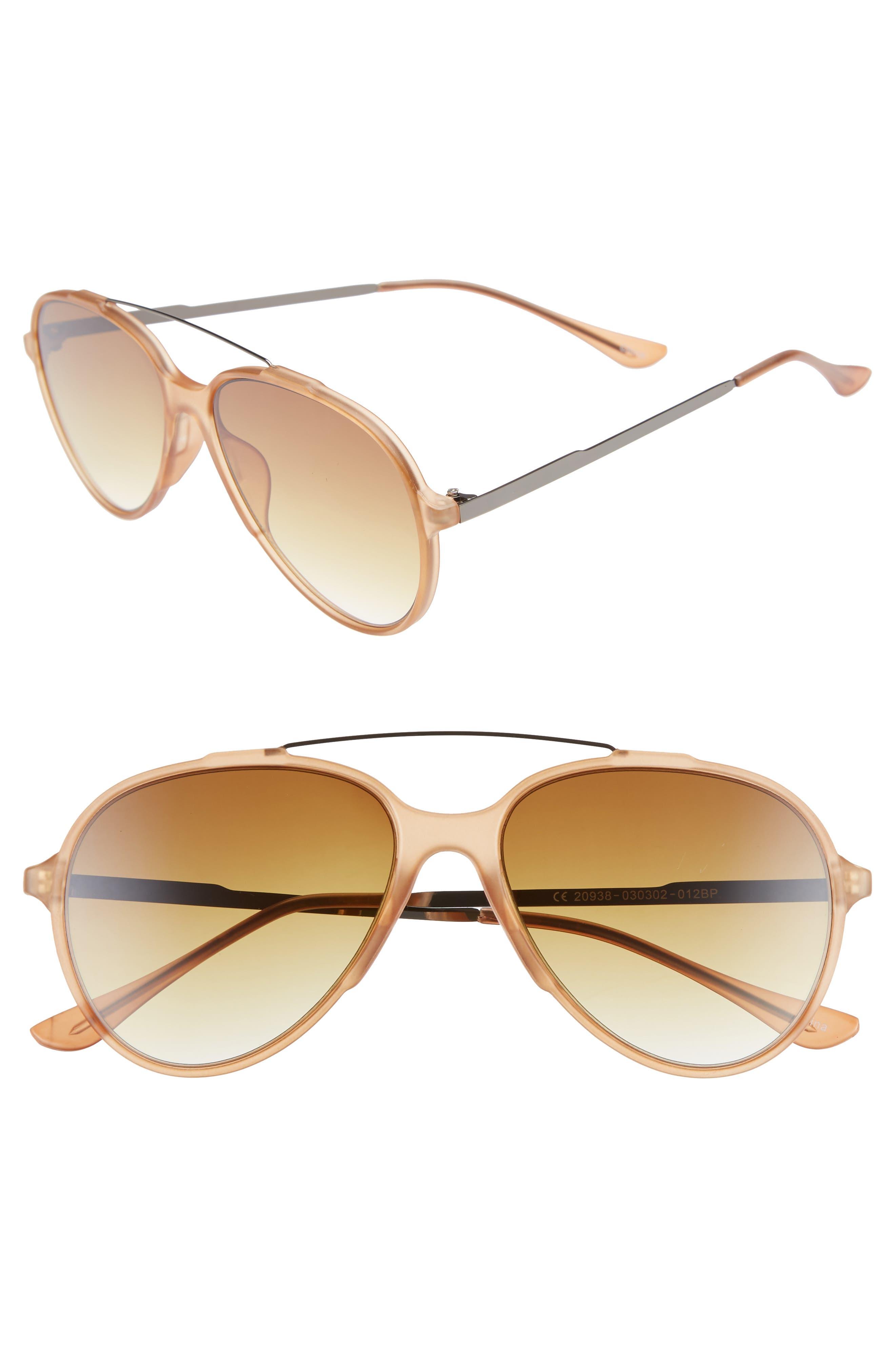 55mm Aviator Sunglasses,                             Main thumbnail 1, color,                             BROWN